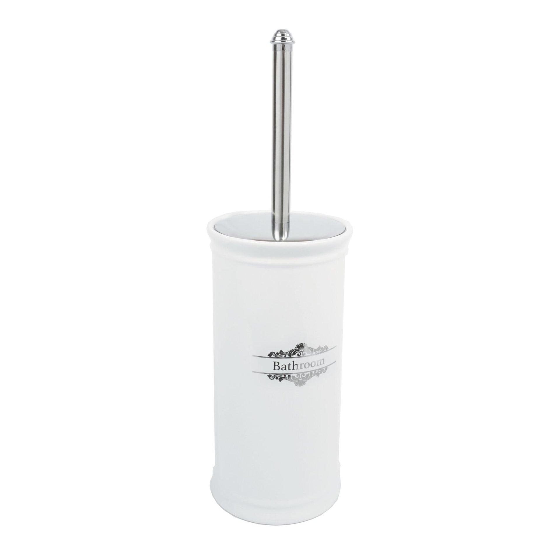 Porta scopino wc da appoggio Vittoria in porcellana bianco