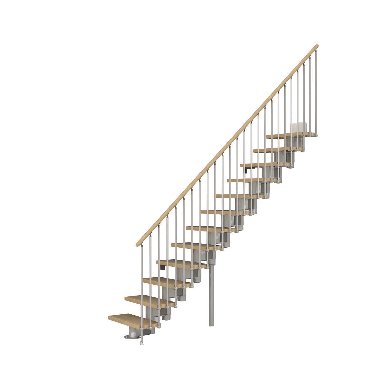 Scala a rampa dritto Long FONTANOT L 65 cm, gradino faggio naturale, struttura cromato - 1