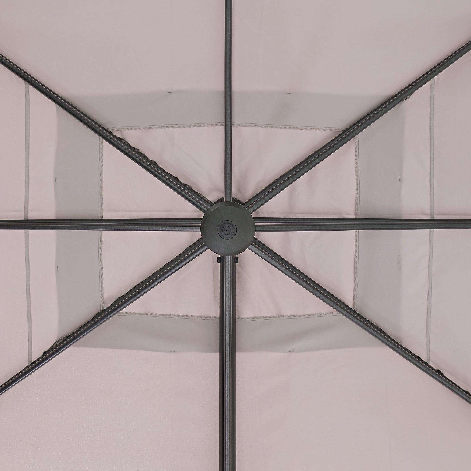 Ombrellone NATERIAL Aura L 2.81 x P 3.86 m color tortora - 15