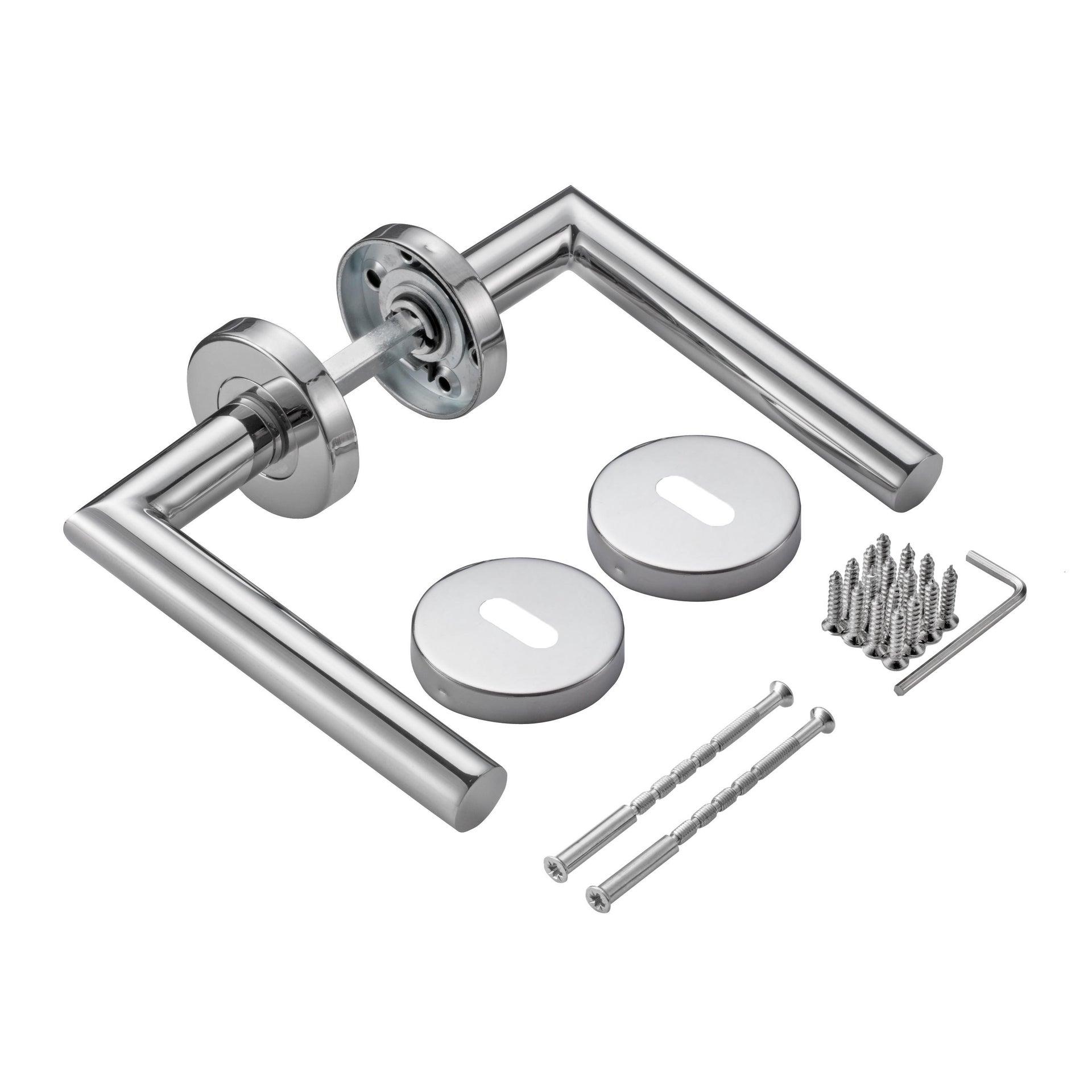 Maniglia con rosetta e bocchetta INSPIRE in acciaio spazzolato - 4
