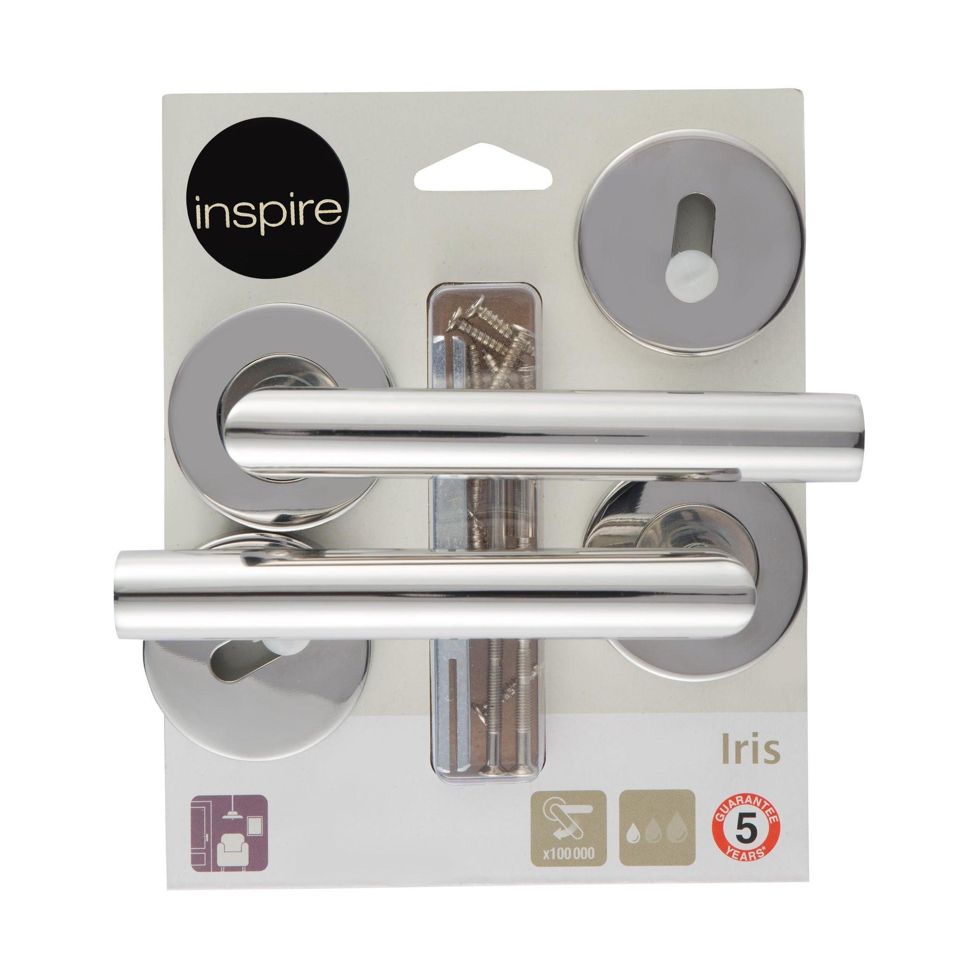 Maniglia con rosetta e bocchetta INSPIRE in acciaio spazzolato - 5