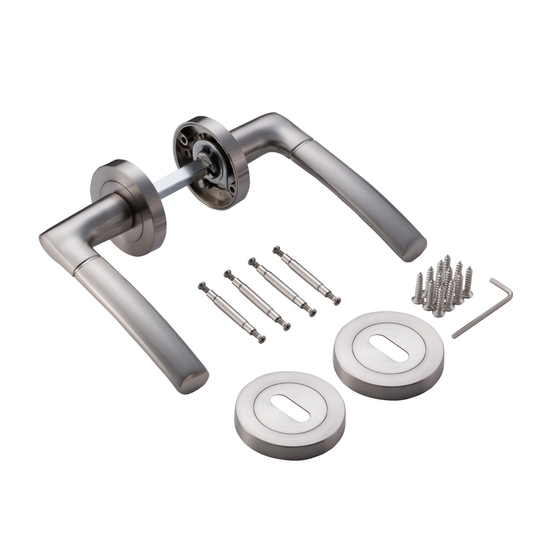 Maniglia con rosetta e bocchetta INSPIRE Eina in alluminio spazzolato - 5