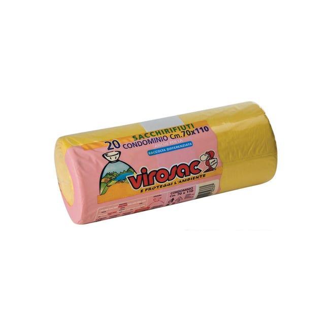 Sacchi spazzatura Rotolo condominio L 70 x H 110 cm 110 L giallo 20 pezzi - 1
