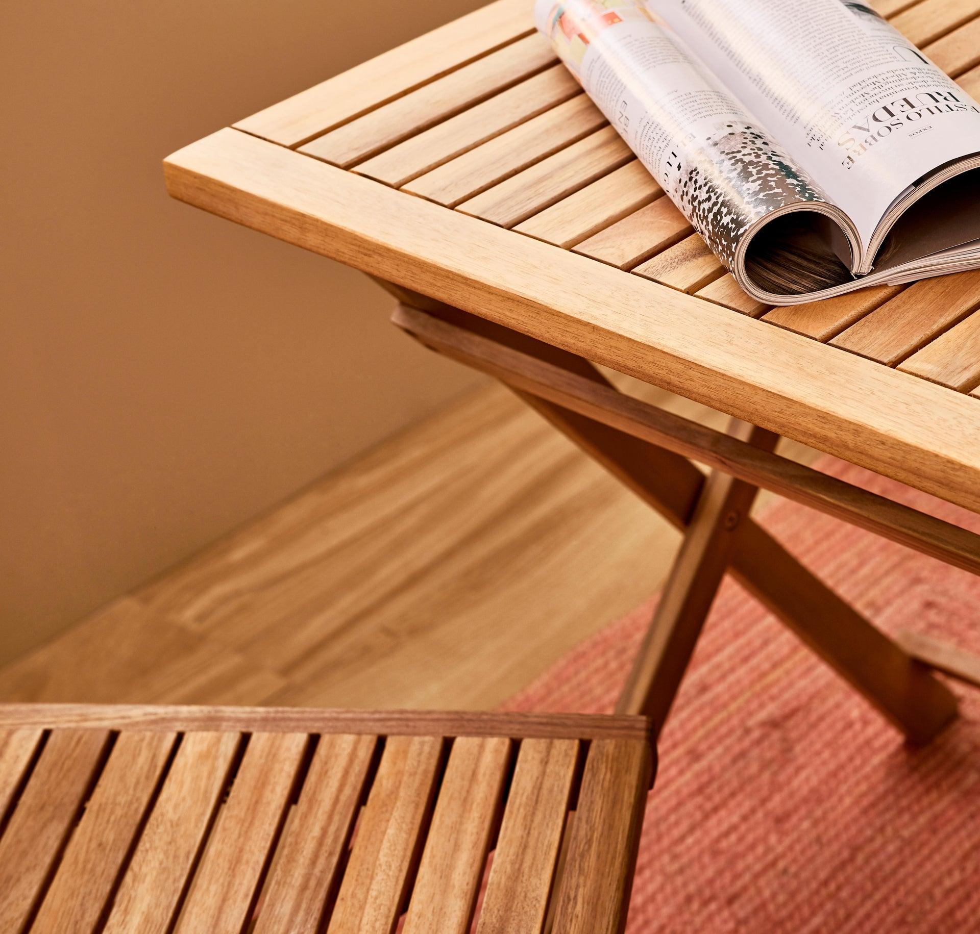 Tavolo da giardino rettangolare Solis NATERIAL con piano in legno L 70 x P 114 cm - 18