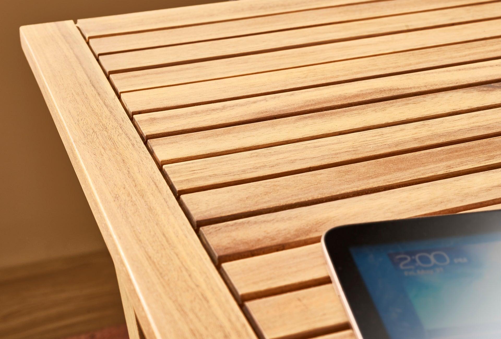 Tavolo da giardino rettangolare Solis NATERIAL con piano in legno L 70 x P 114 cm - 17