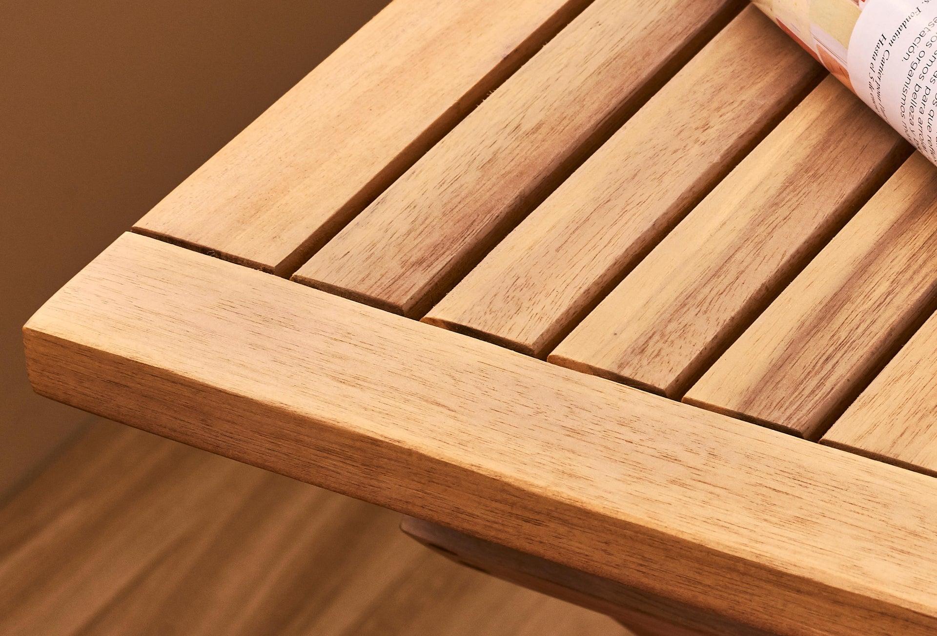 Tavolo da giardino rettangolare Solis NATERIAL con piano in legno L 70 x P 114 cm - 19