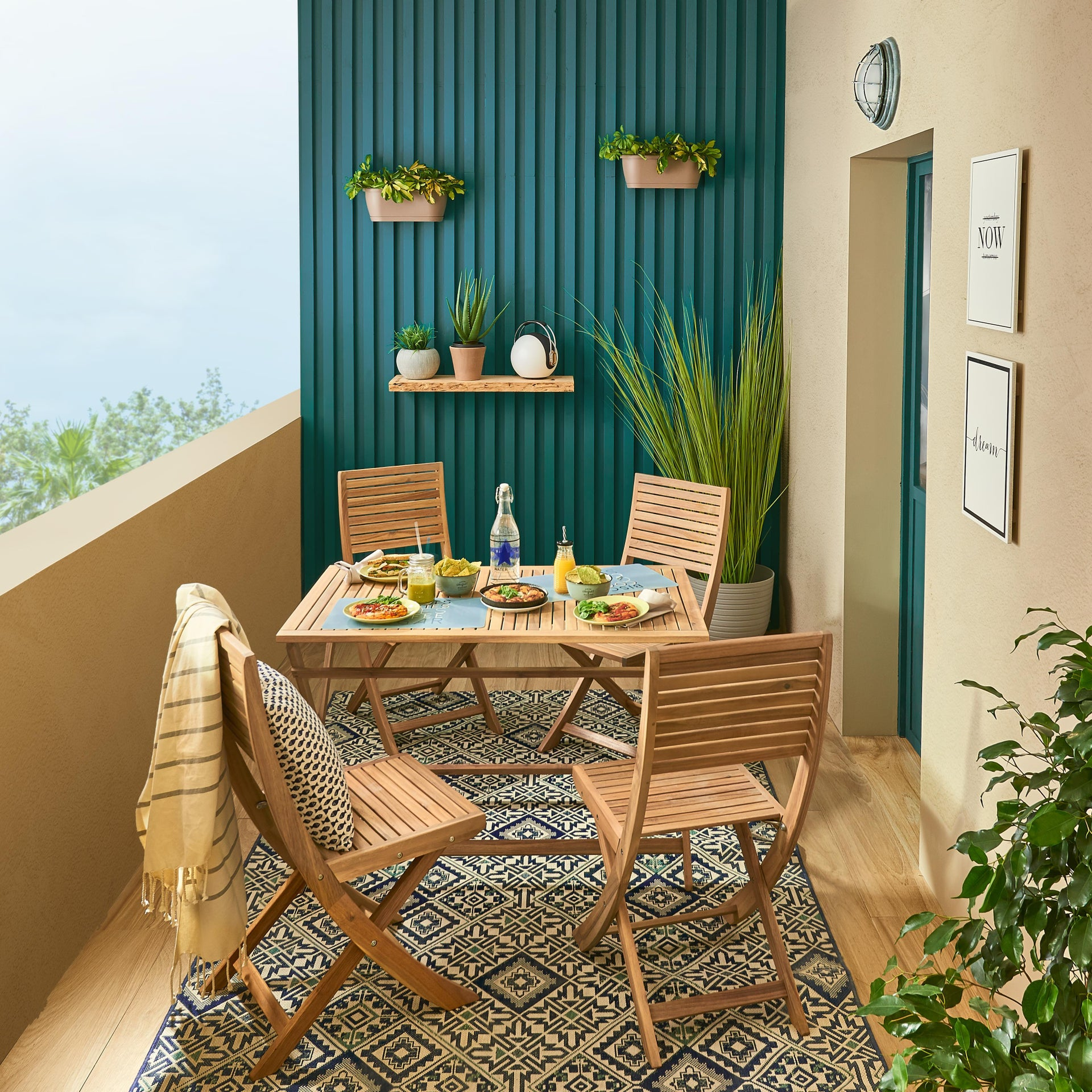 Tavolo da giardino rettangolare Solis NATERIAL con piano in legno L 70 x P 114 cm - 15