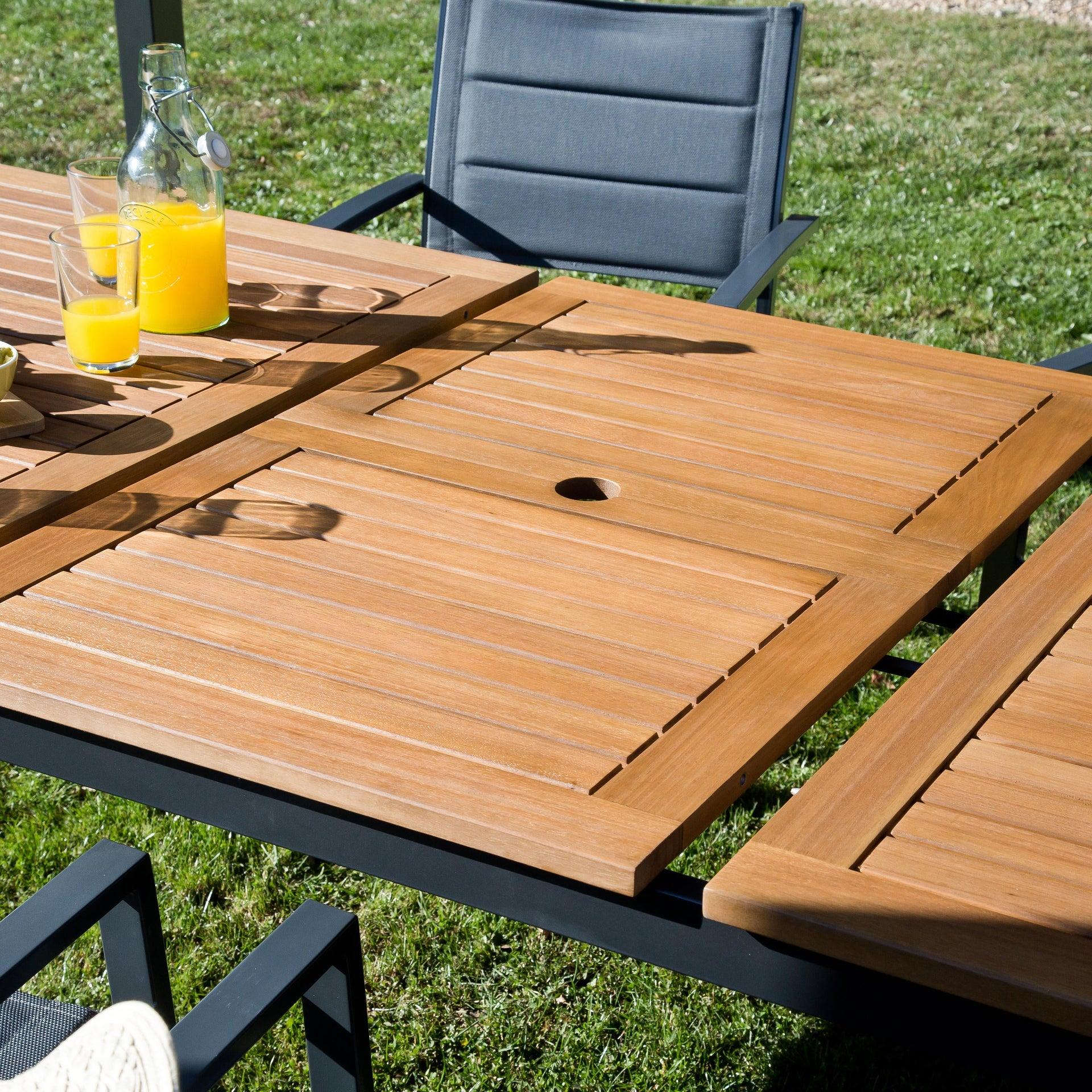 Tavolo da giardino allungabile rettangolare Oris NATERIAL con piano in legno L 180/240 x P 98.9 cm - 20