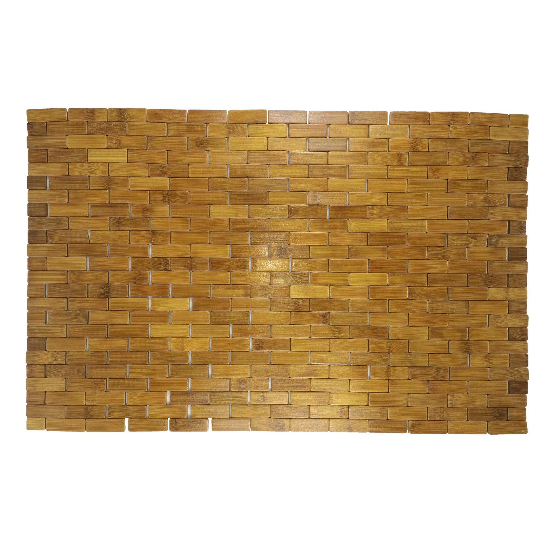 Tappeto bagno rettangolare Domino in bambù marrone 80 x 50 cm - 3