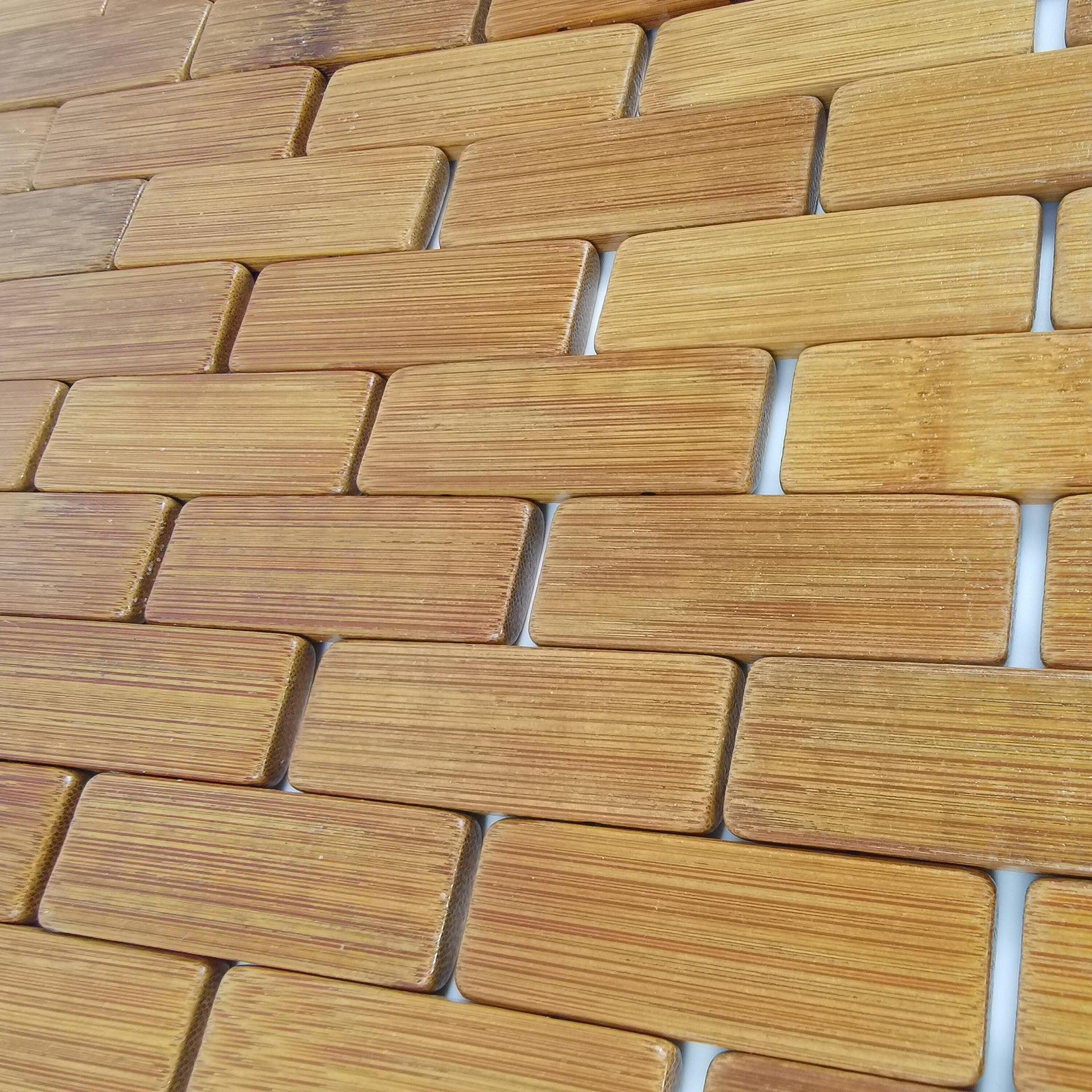 Tappeto bagno rettangolare Domino in bambù marrone 80 x 50 cm - 6