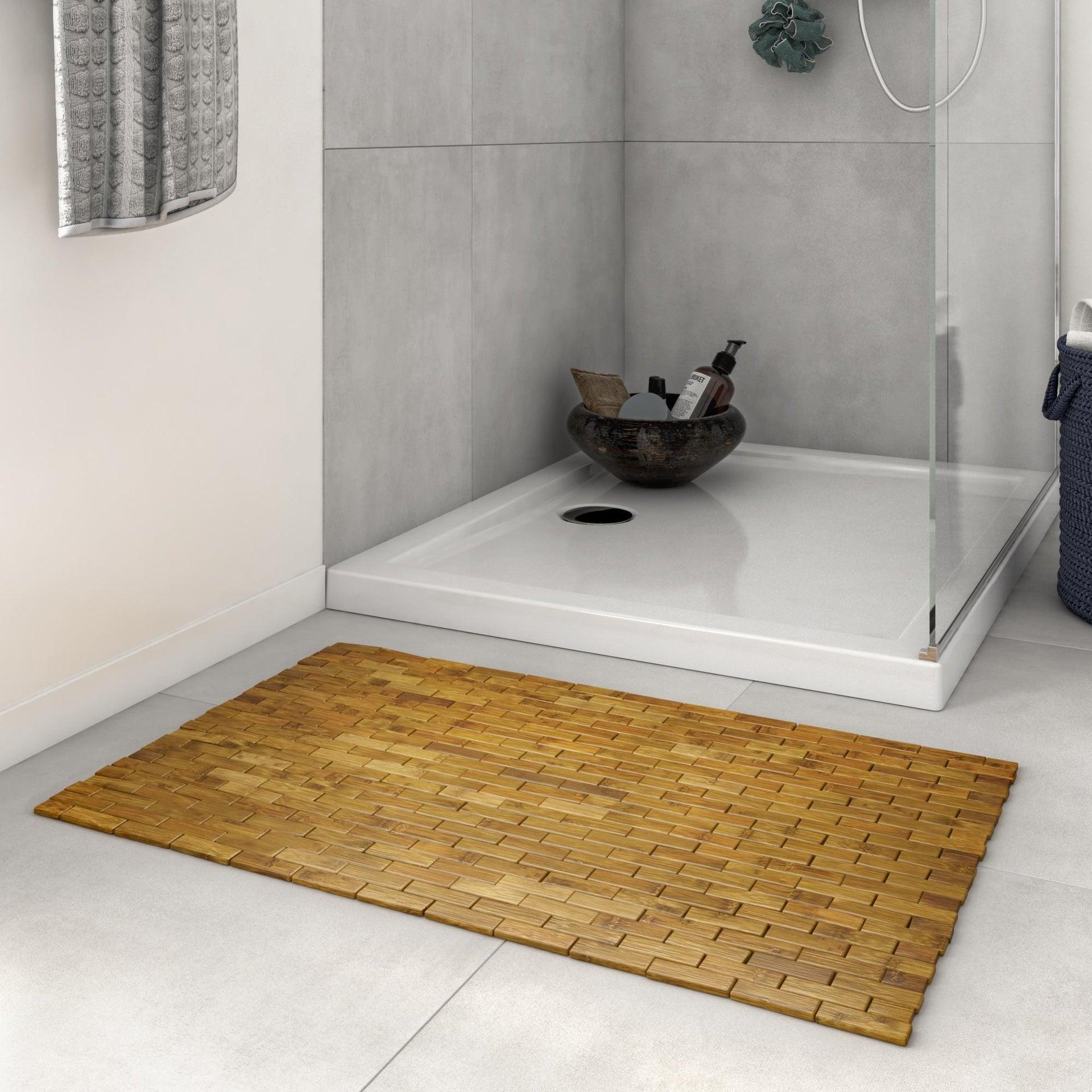 Tappeto bagno rettangolare Domino in bambù marrone 80 x 50 cm - 4