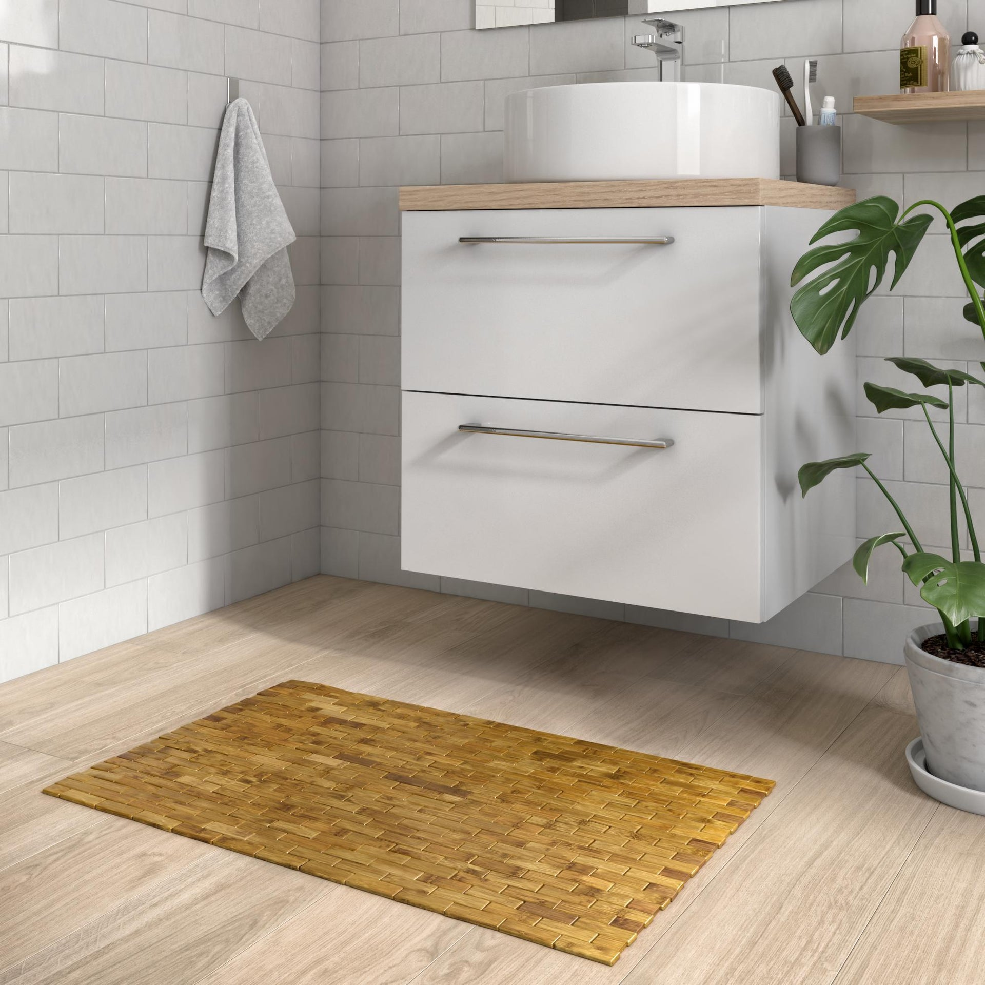 Tappeto bagno rettangolare Domino in bambù marrone 80 x 50 cm - 2