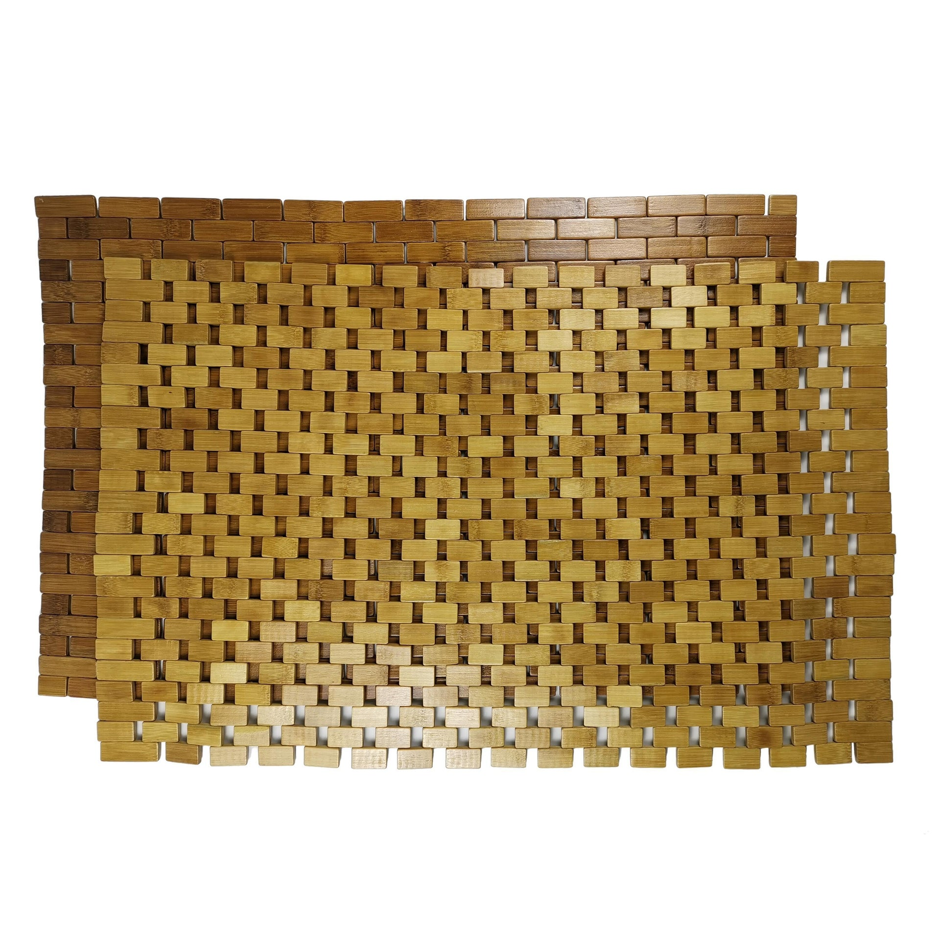 Tappeto bagno rettangolare Domino in bambù marrone 80 x 50 cm - 1