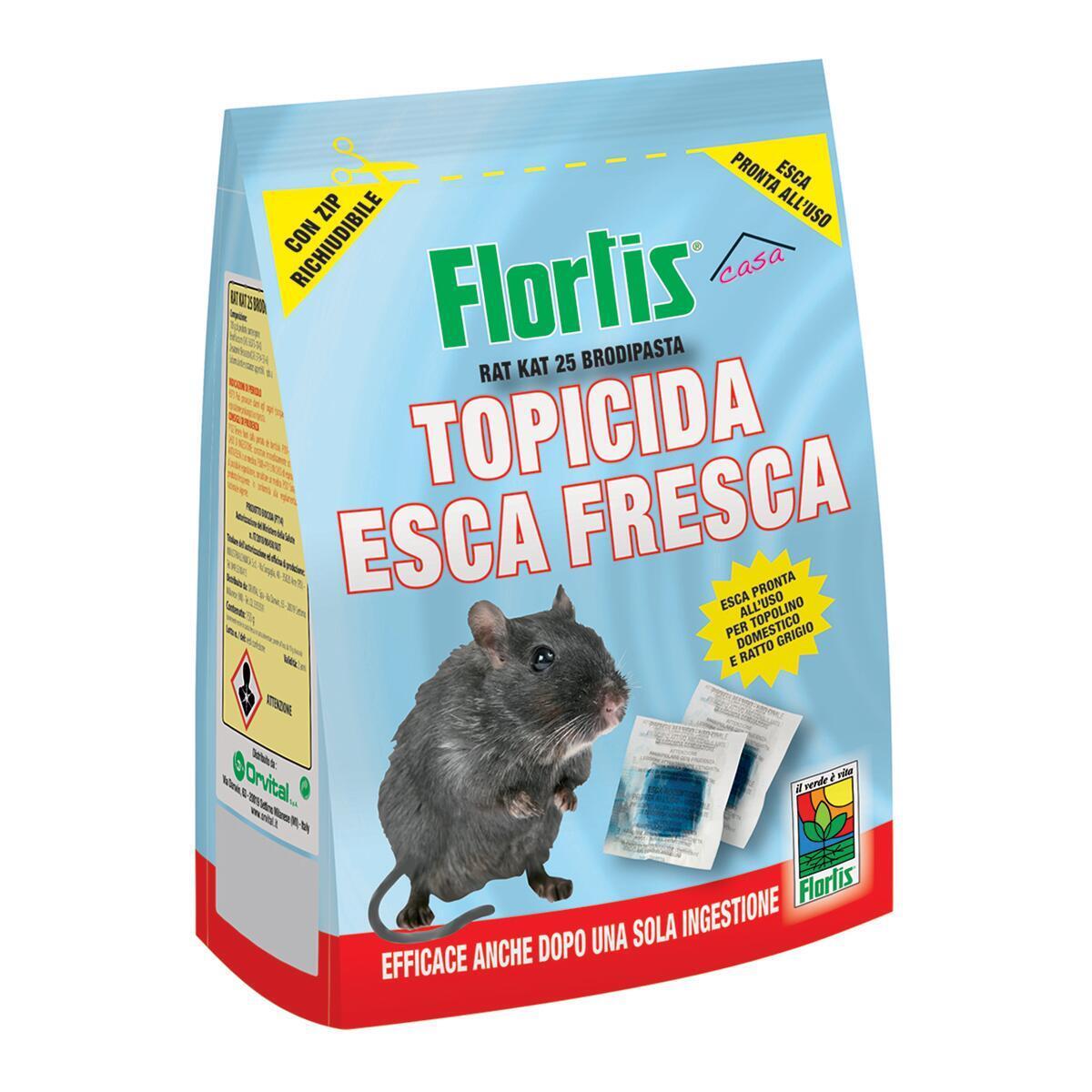 Esca per ratto e topo e talpa FLORTIS Topicida 150 g