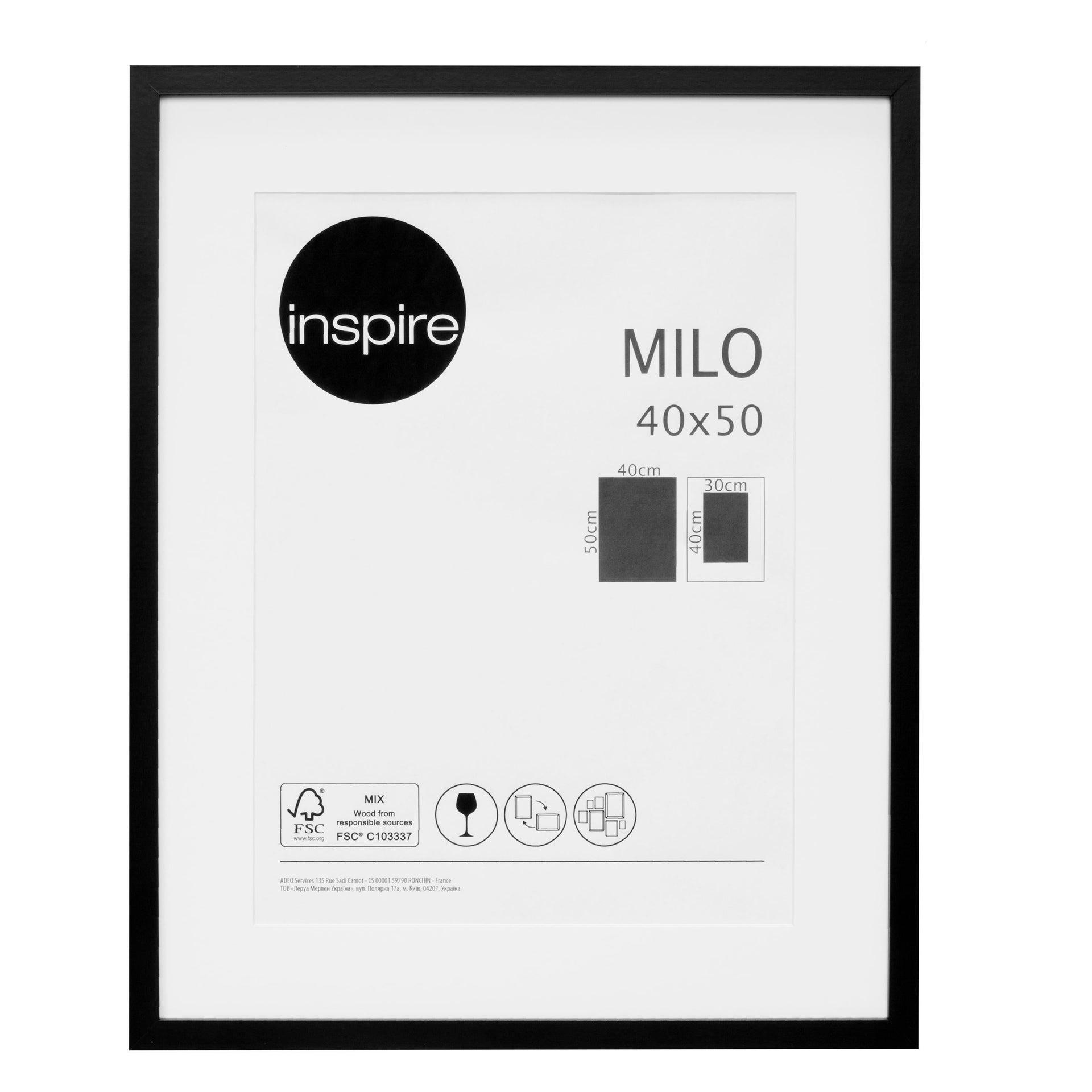 Cornice con passe-partout Inspire milo nero 40x50 cm - 1