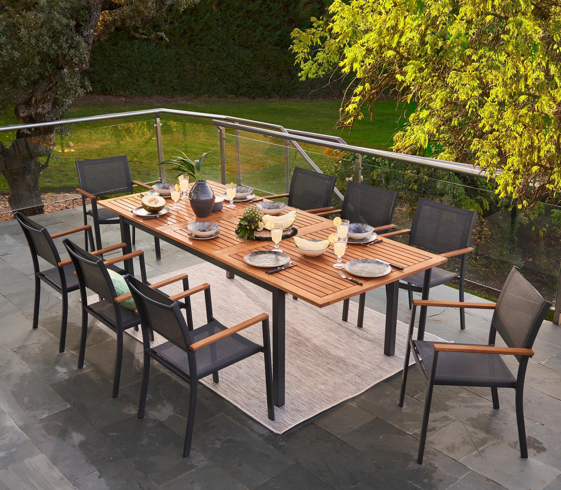 Tavolo da giardino allungabile rettangolare Oris NATERIAL con piano in legno L 180/240 x P 98.9 cm - 10