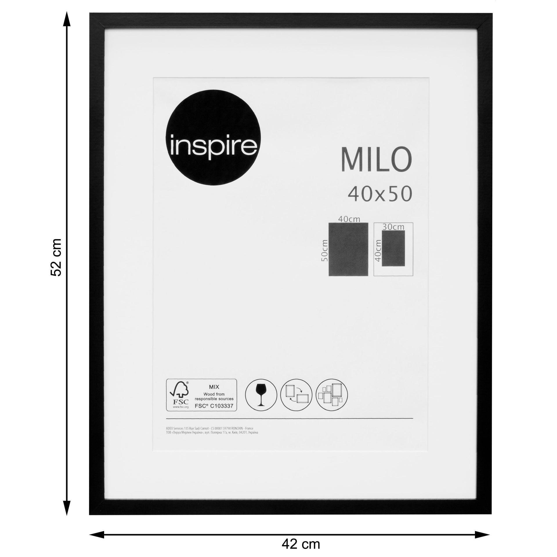 Cornice con passe-partout Inspire milo nero 40x50 cm - 2