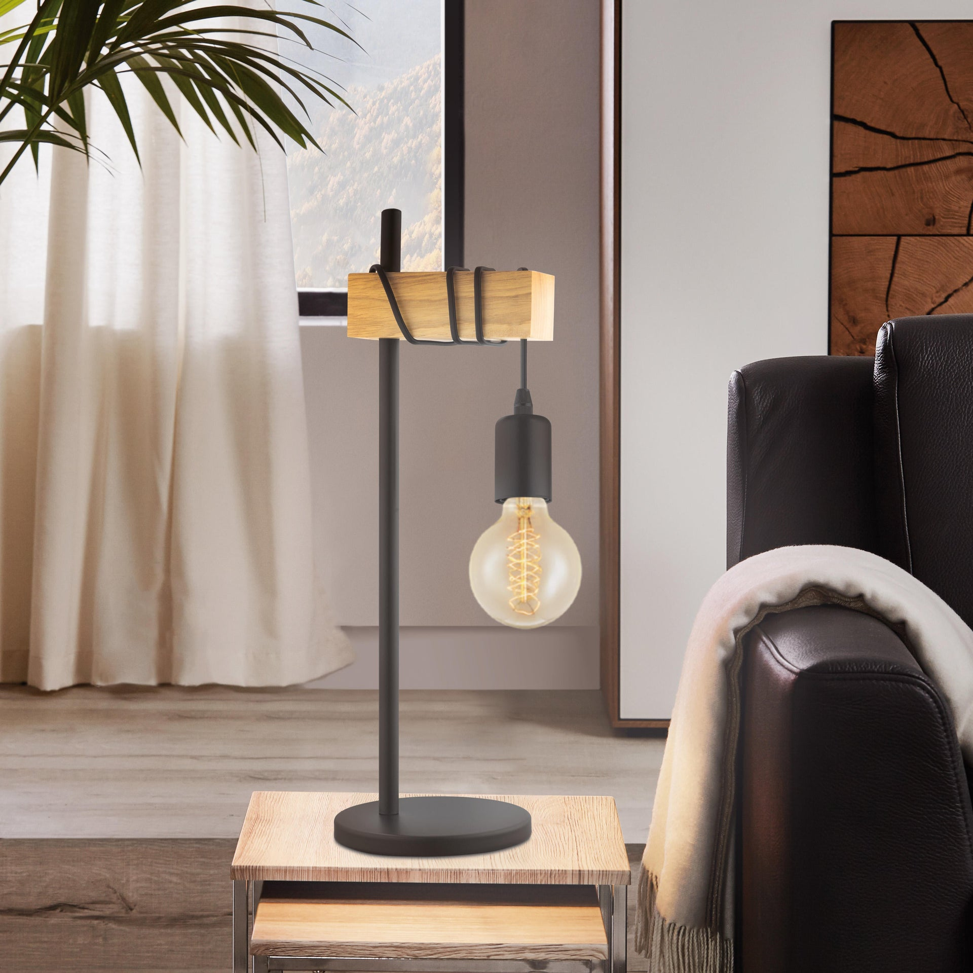 Lampada da tavolo Scandinavo Townshend nero , in metallo, EGLO - 1
