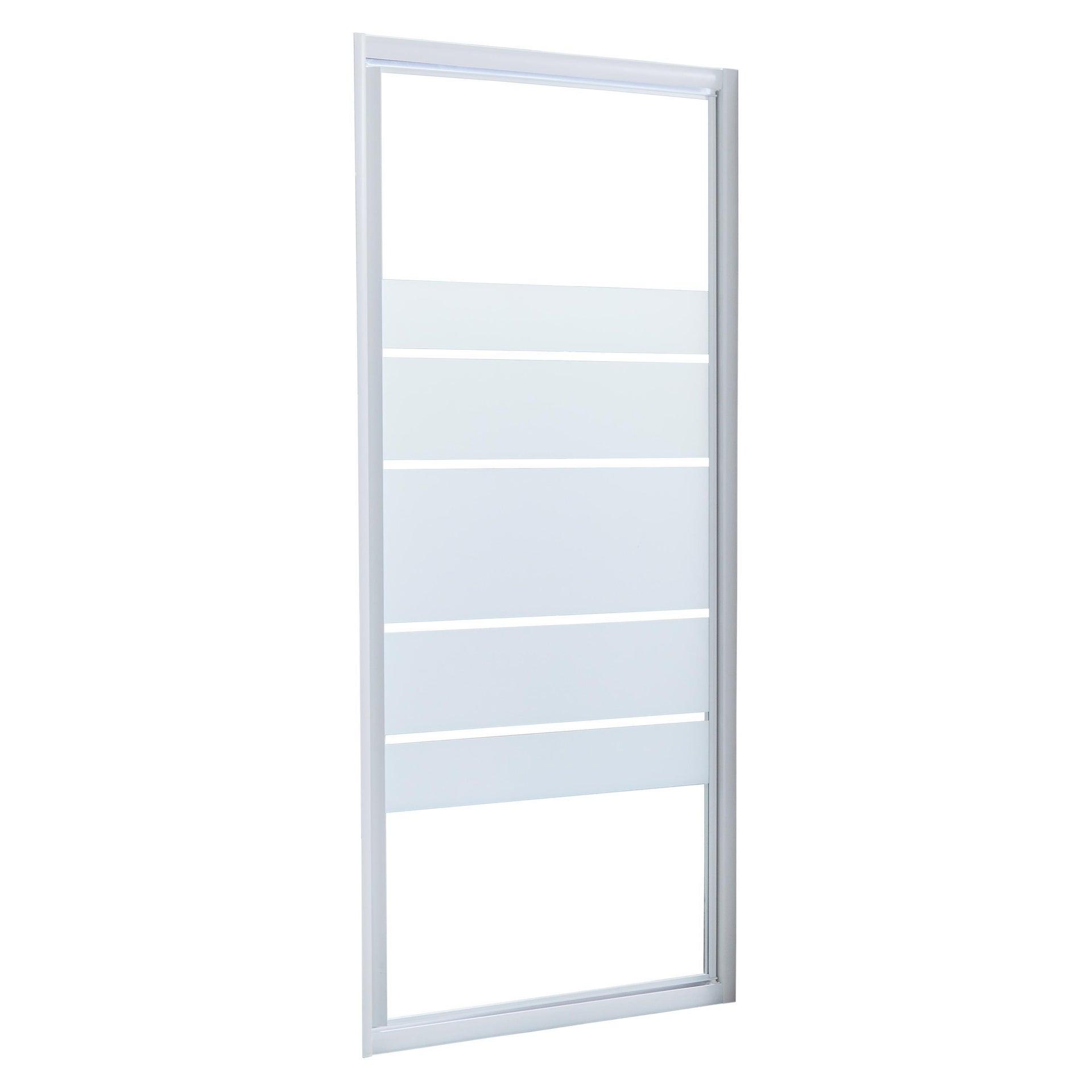 Porta doccia battente Essential 80 cm, H 185 cm in vetro, spessore 4 mm serigrafato bianco - 1