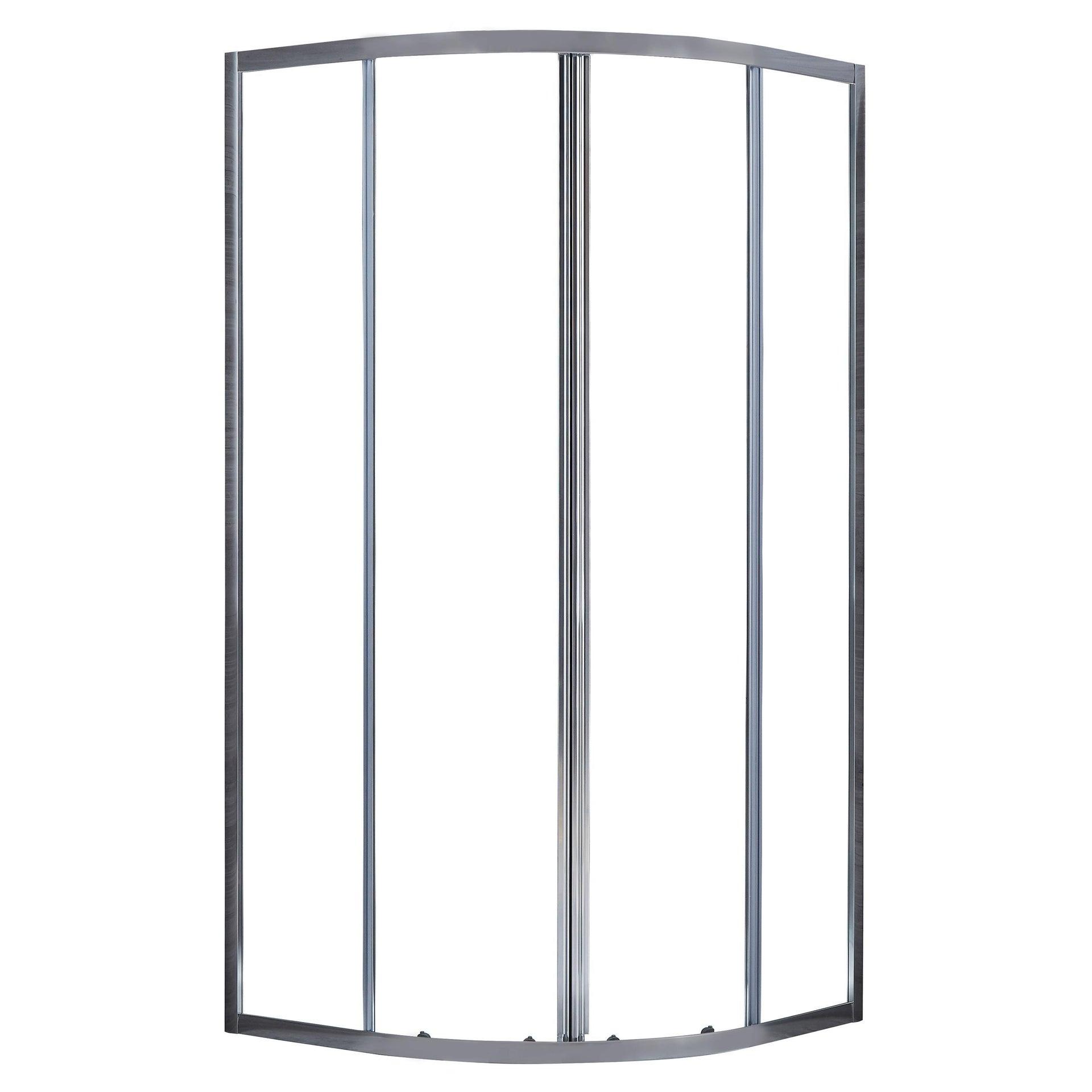 Box doccia semicircolare scorrevole Essential 80 x 80 cm, H 185 cm in vetro temprato, spessore 4 mm trasparente cromato - 1