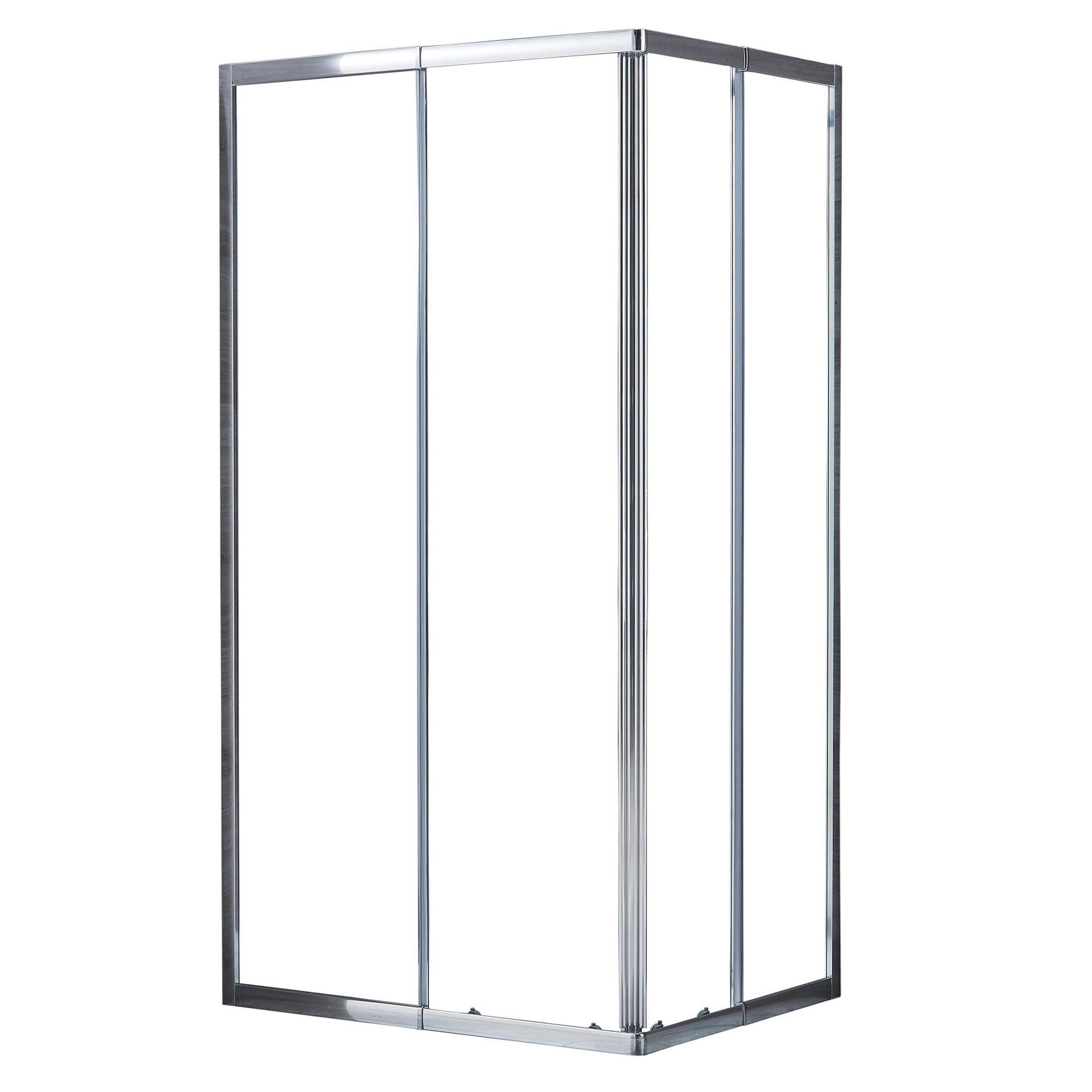 Box doccia rettangolare scorrevole Essential 70 x 100 cm, H 185 cm in vetro temprato, spessore 4 mm trasparente cromato - 10