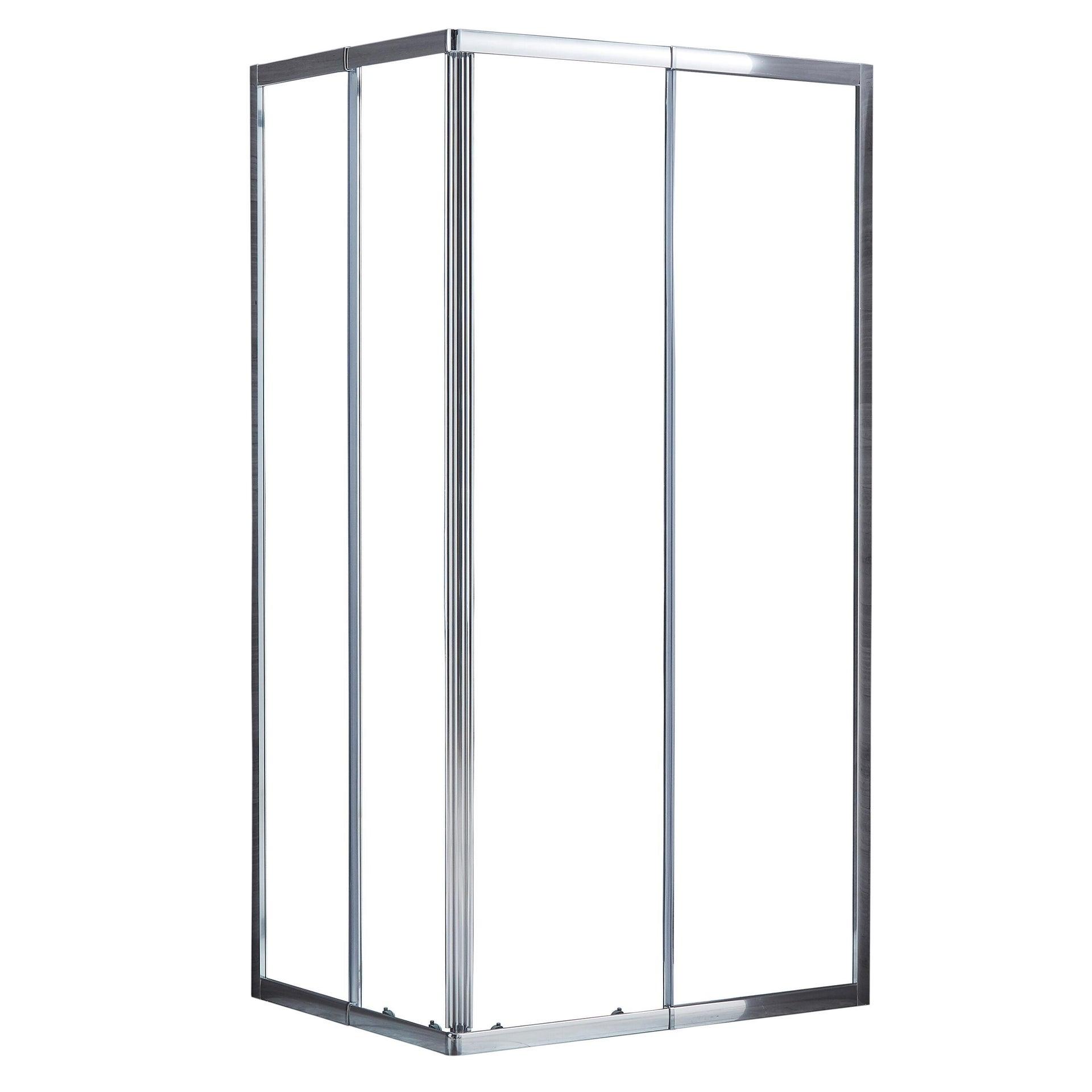 Box doccia rettangolare scorrevole Essential 70 x 100 cm, H 185 cm in vetro temprato, spessore 4 mm trasparente cromato - 4