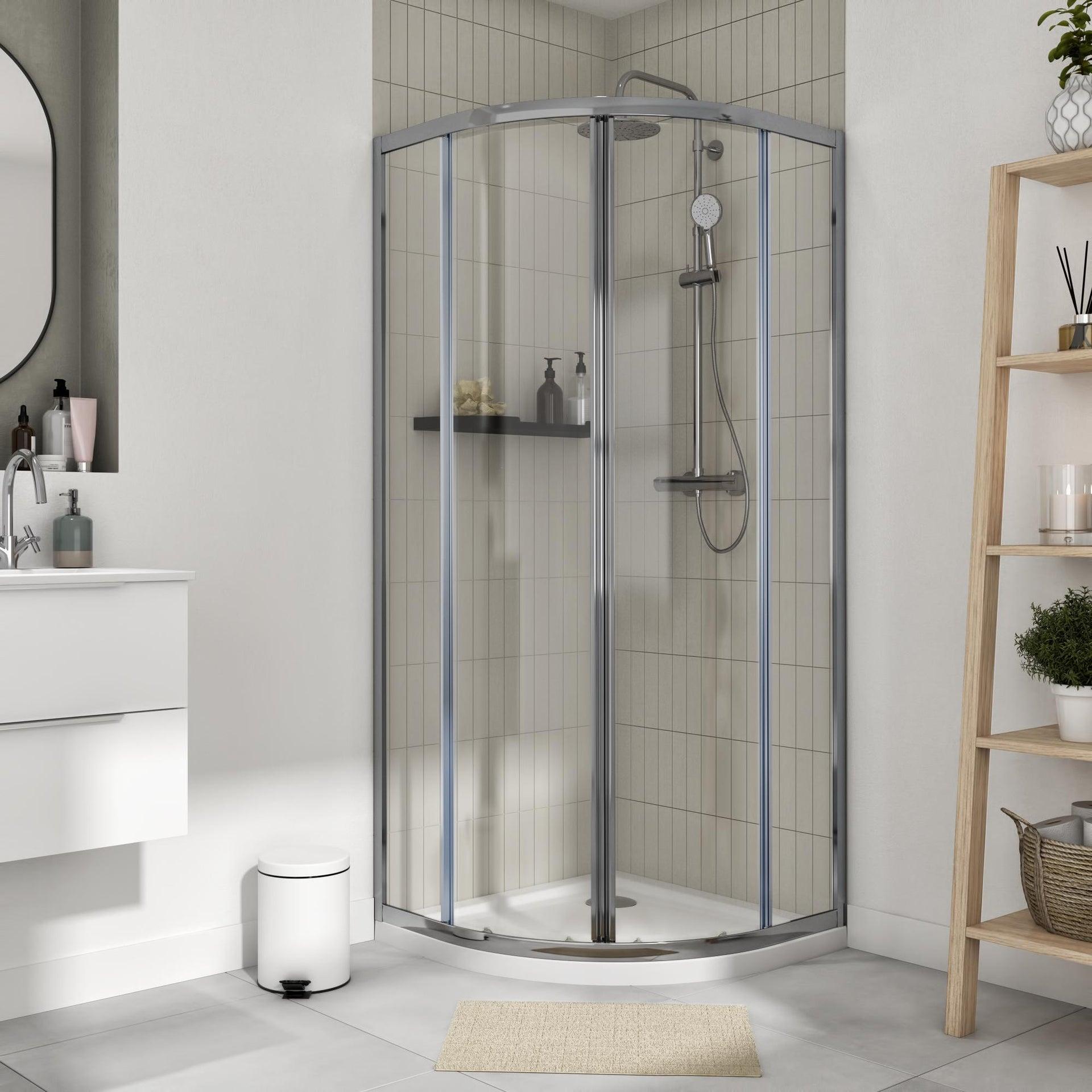 Box doccia semicircolare scorrevole Essential 80 x 80 cm, H 185 cm in vetro temprato, spessore 4 mm trasparente cromato - 2