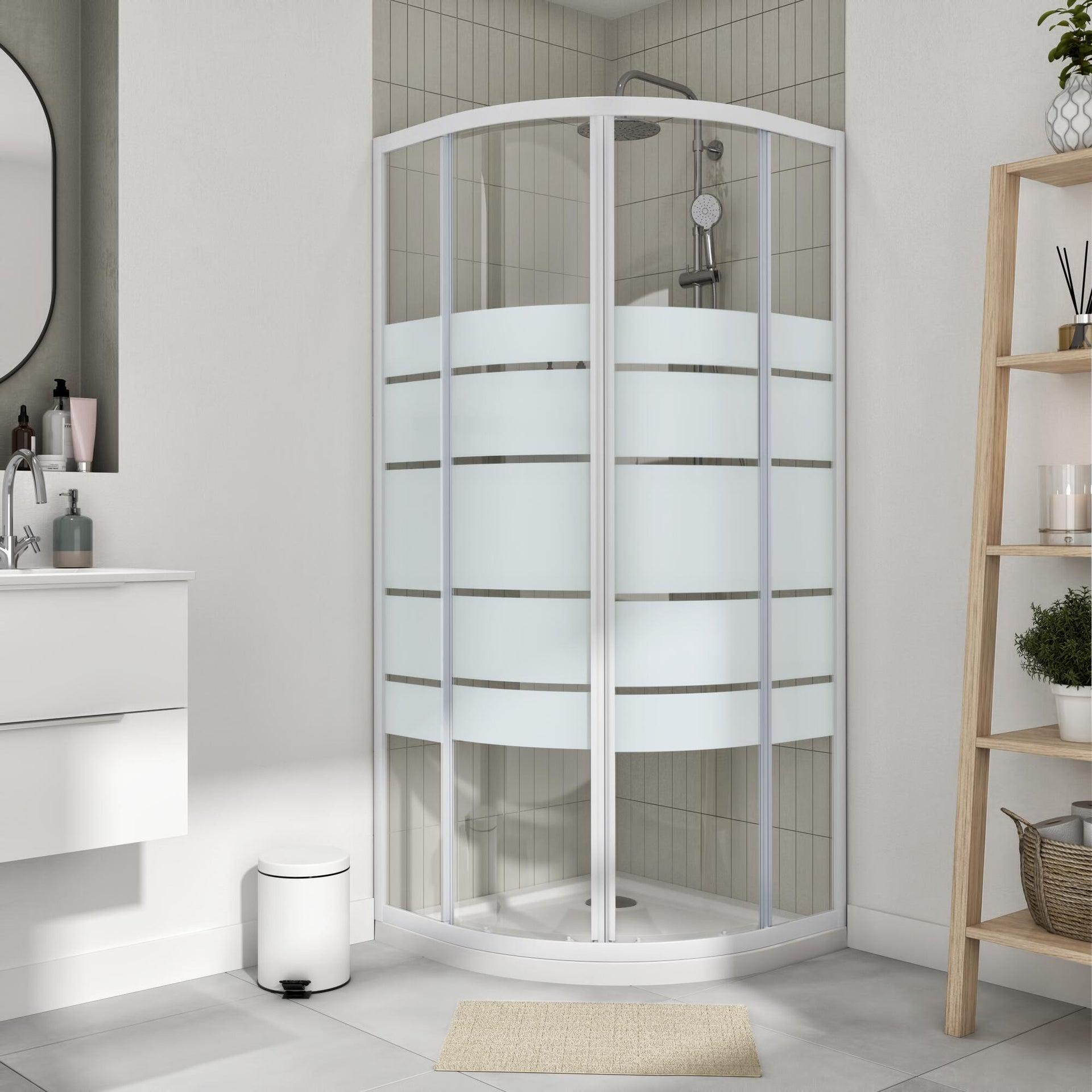 Box doccia semicircolare scorrevole Essential 90 x 90 cm, H 185 cm in vetro temprato, spessore 4 mm serigrafato bianco - 1
