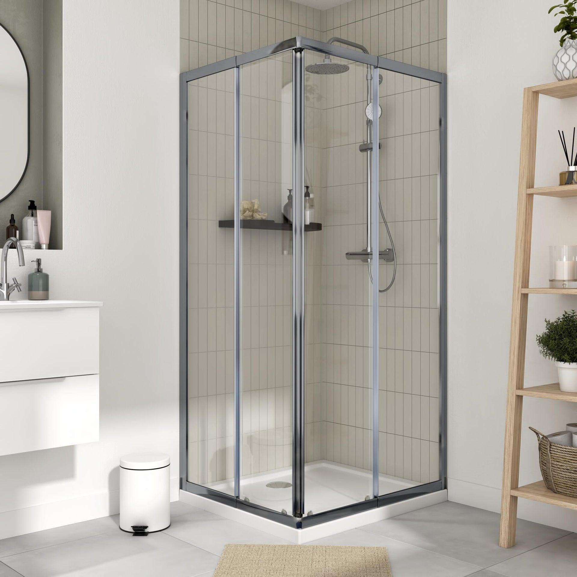 Box doccia rettangolare scorrevole Essential 70 x 100 cm, H 185 cm in vetro temprato, spessore 4 mm trasparente cromato - 1