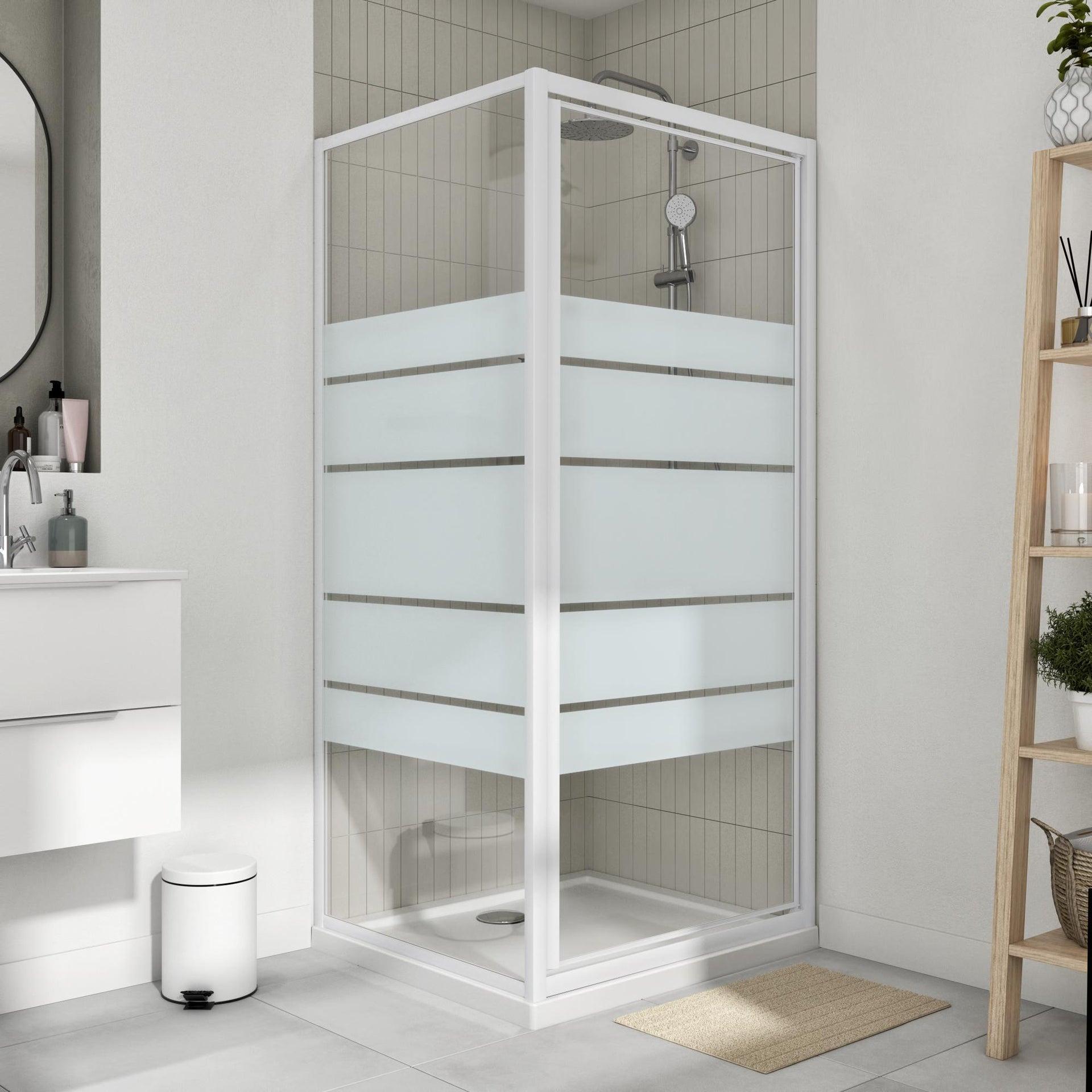 Porta doccia battente Essential 80 cm, H 185 cm in vetro, spessore 4 mm serigrafato bianco - 2