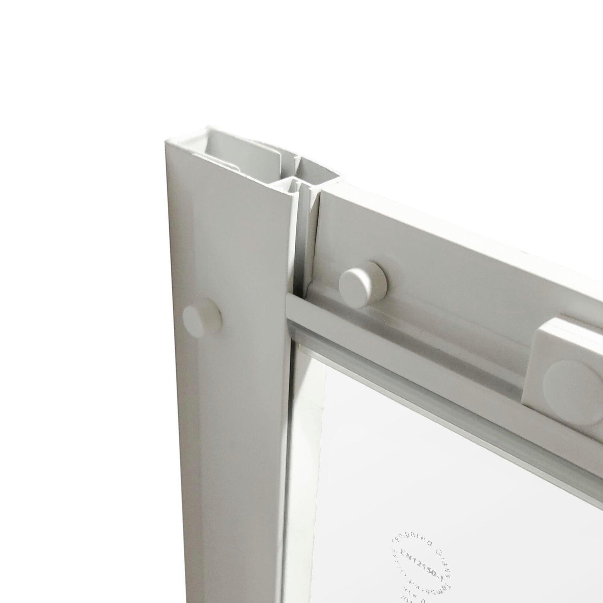 Box doccia semicircolare scorrevole Essential 90 x 90 cm, H 185 cm in vetro temprato, spessore 4 mm serigrafato bianco - 4