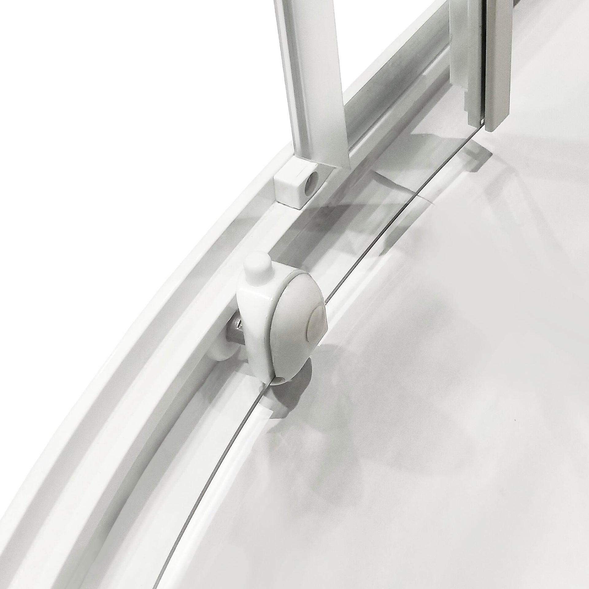 Box doccia semicircolare scorrevole Essential 90 x 90 cm, H 185 cm in vetro temprato, spessore 4 mm serigrafato bianco - 3