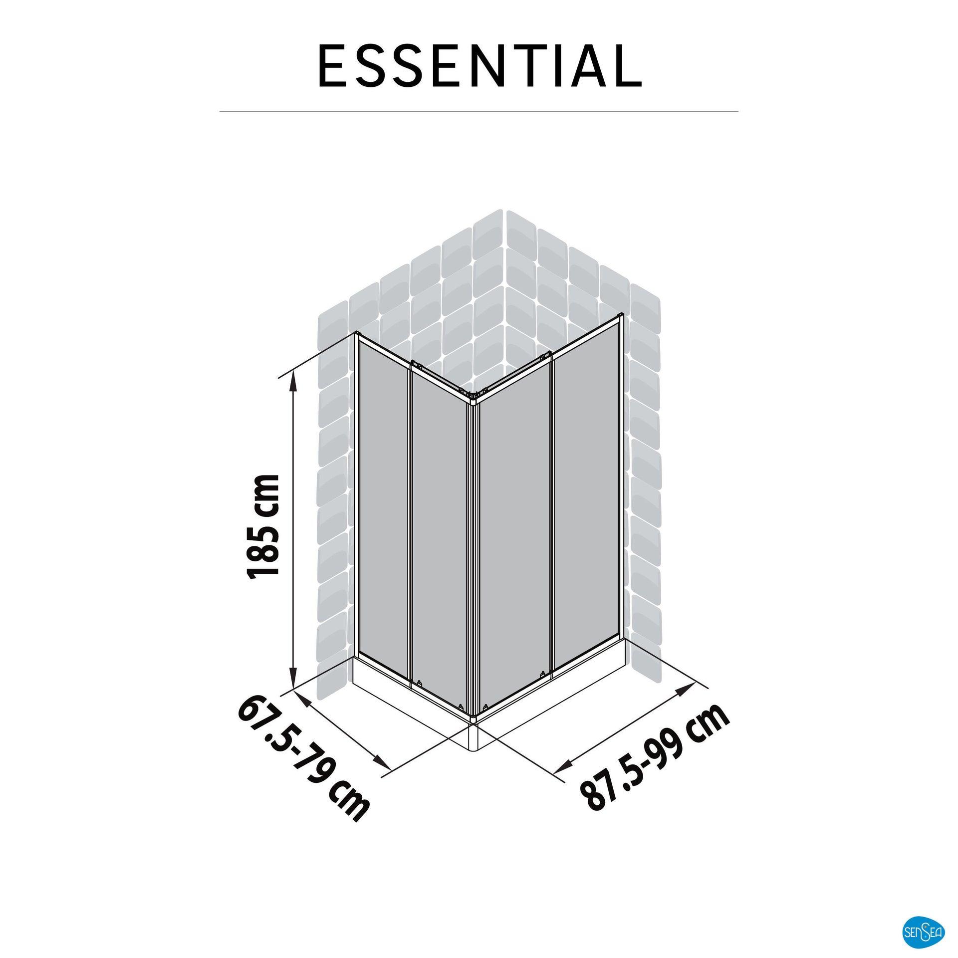 Box doccia rettangolare scorrevole Essential 70 x 100 cm, H 185 cm in vetro temprato, spessore 4 mm trasparente cromato - 9