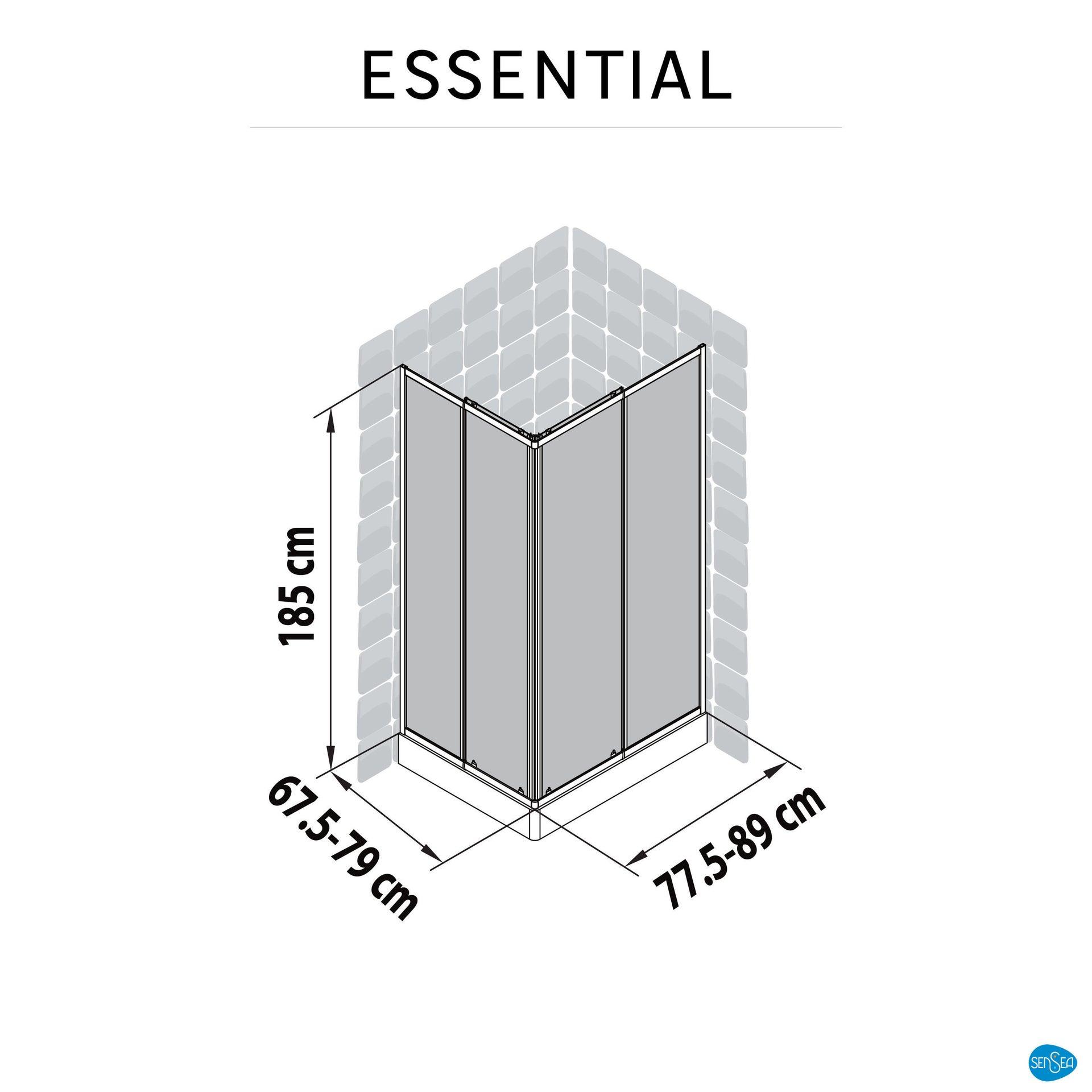 Box doccia rettangolare scorrevole Essential 70 x 90 cm, H 185 cm in vetro temprato, spessore 4 mm trasparente cromato - 2