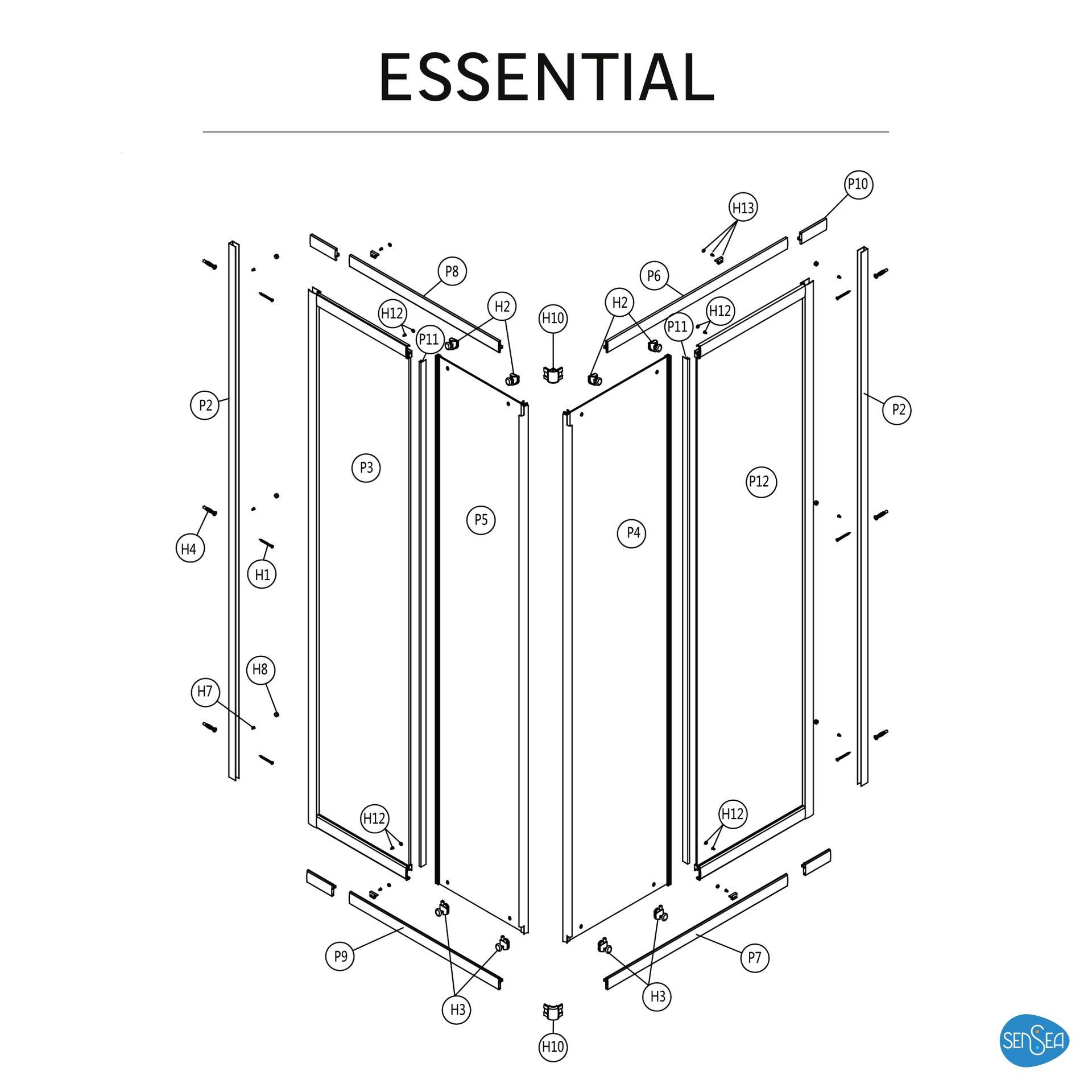 Box doccia rettangolare scorrevole Essential 70 x 100 cm, H 185 cm in vetro temprato, spessore 4 mm trasparente cromato - 7