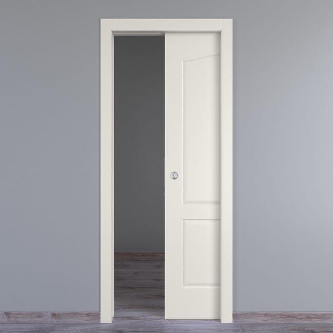 Porta scorrevole a scomparsa Ipanema bianco L 80 x H 210 cm reversibile - 1