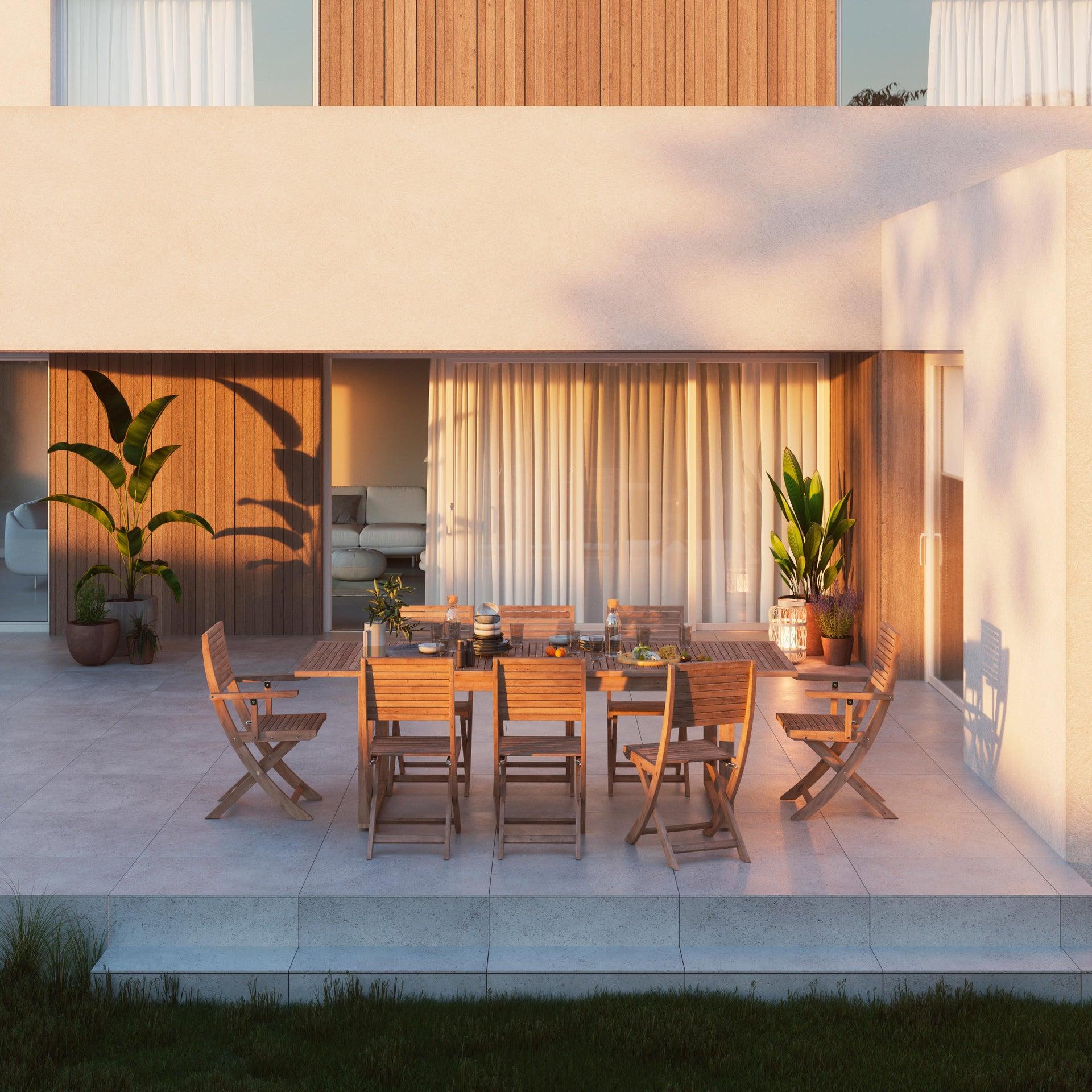 Sedia con braccioli senza cuscino pieghevole in legno Solaris NATERIAL colore acacia - 4