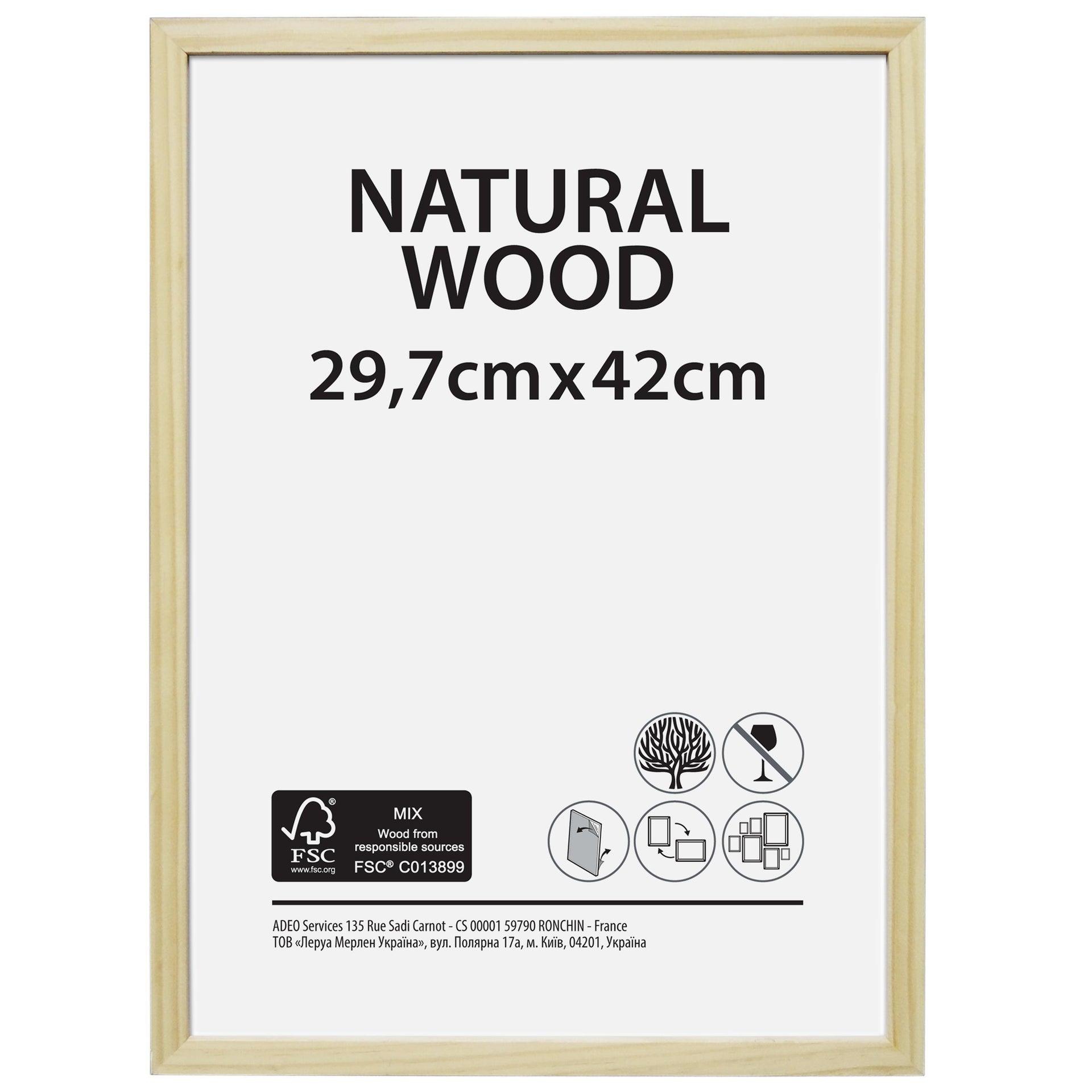 Cornice Natural wood naturale per foto da 29.7x42 cm - 1