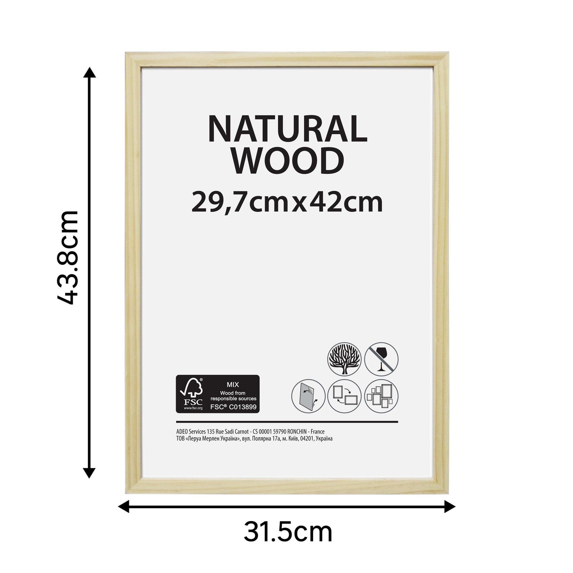 Cornice Natural wood naturale per foto da 29.7x42 cm - 4