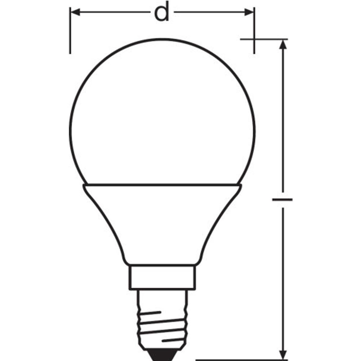 Lampadina LED, E14, Sferico, Opaco, Luce calda, 5W=470LM (equiv 40 W), 360° , OSRAM - 7