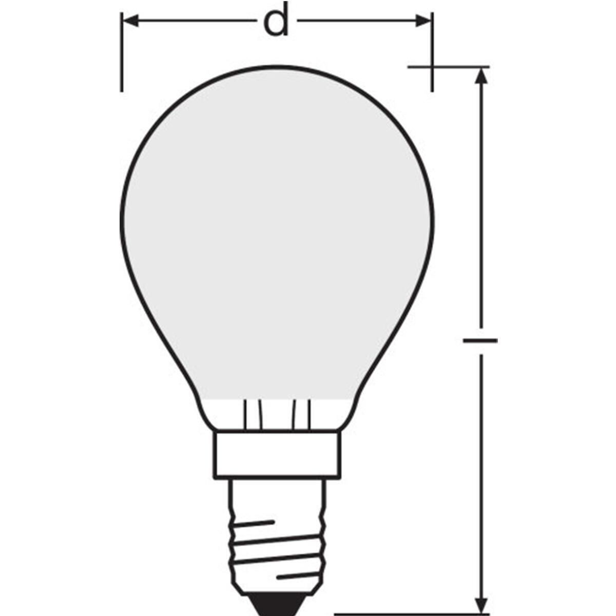 Lampadina LED filamento, E14, Sferico, Opaco, Luce calda, 4W=470LM (equiv 40 W), 300° , OSRAM - 8
