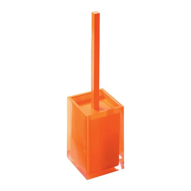 Porta scopino wc da appoggio Rainbow in resina arancione - 1