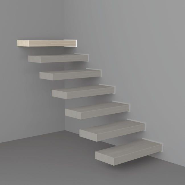 Gradino Wall Finale in legno bianco L 800 mm H 300 mm - 1