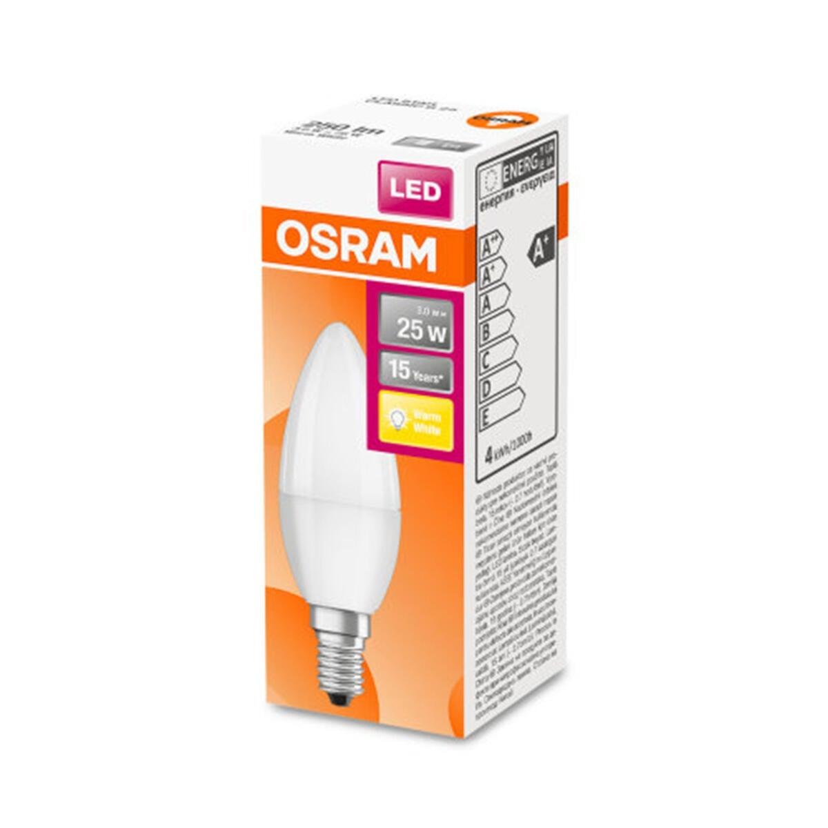 Lampadina LED, E14, Oliva, Opaco, Luce calda, 3W=250LM (equiv 25 W), 220° , OSRAM - 2