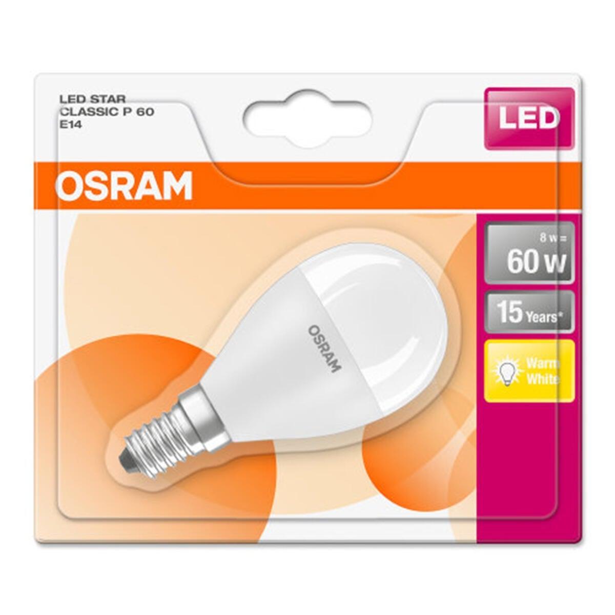 Lampadina LED, E14, Sferico, Opaco, Luce calda, 8W=806LM (equiv 60 W), 150° , OSRAM - 2