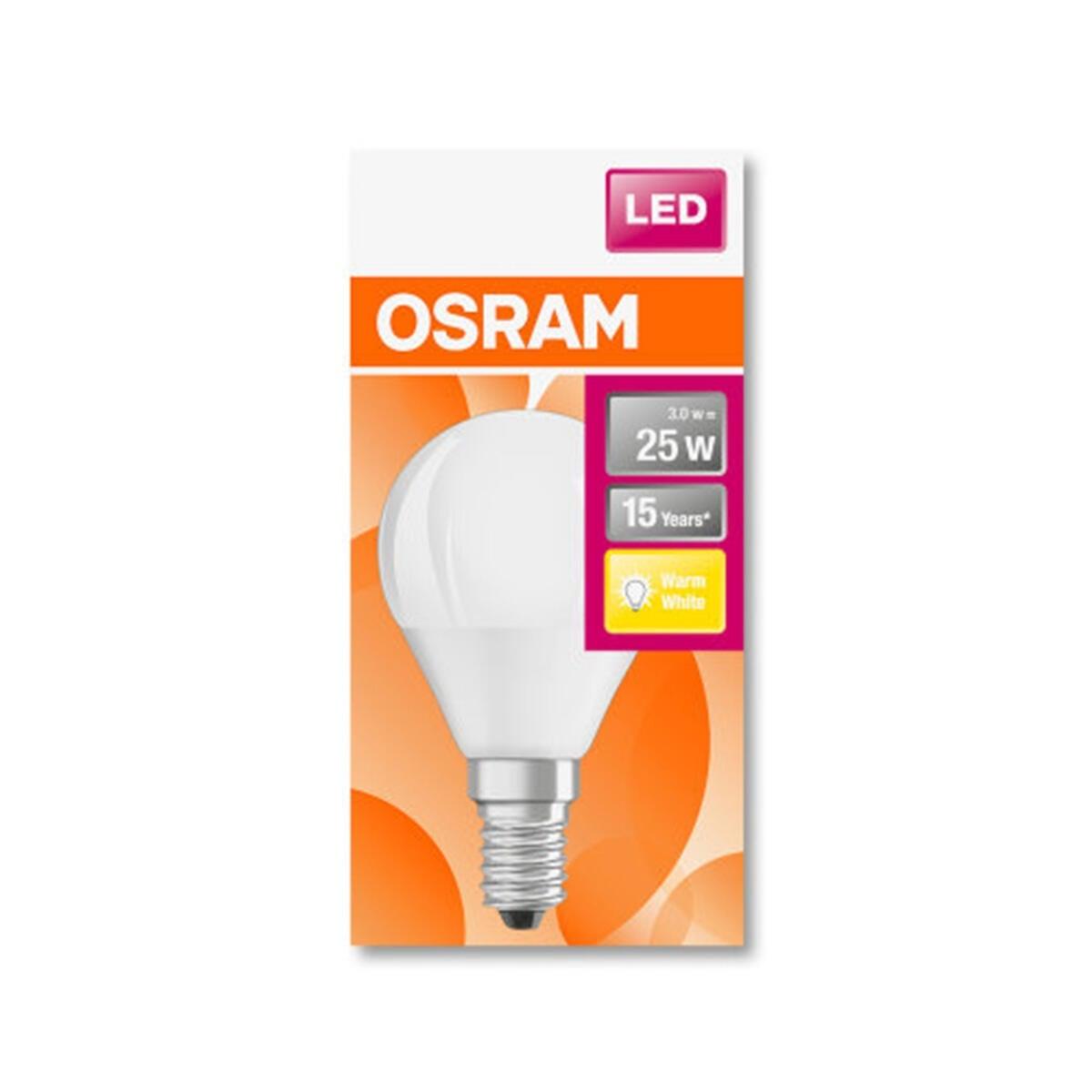 Lampadina LED, E14, Sferico, Opaco, Luce calda, 3W=250LM (equiv 25 W), 180° , OSRAM - 5