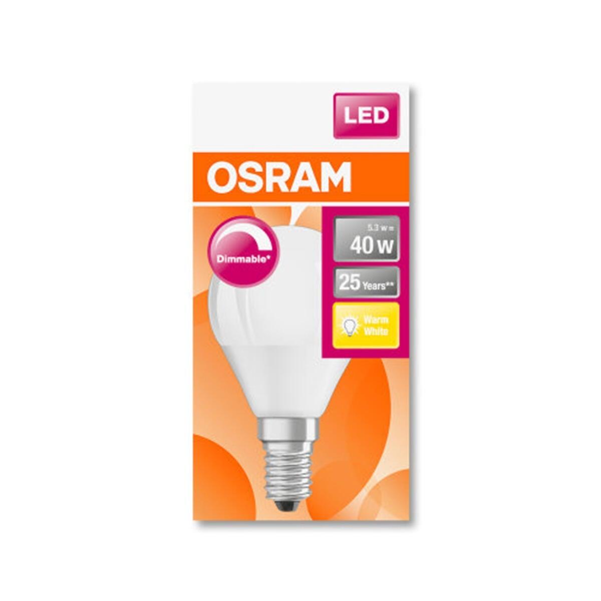 Lampadina LED, E14, Sferico, Opaco, Luce calda, 5W=470LM (equiv 40 W), 360° , OSRAM - 3