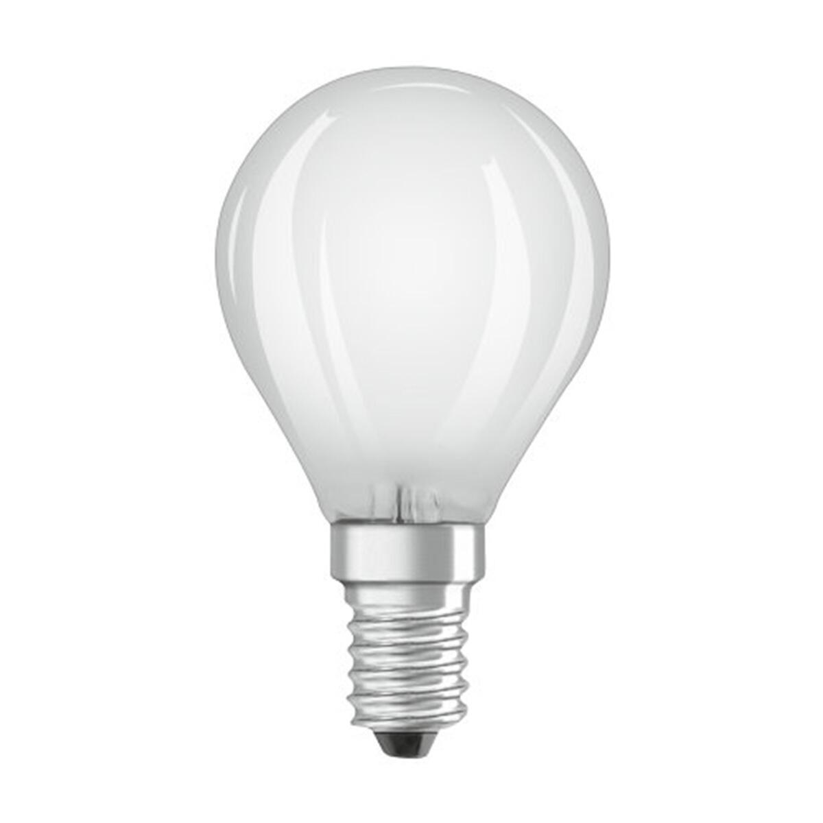 Lampadina LED filamento, E14, Sferico, Opaco, Luce calda, 4W=470LM (equiv 40 W), 300° , OSRAM - 1
