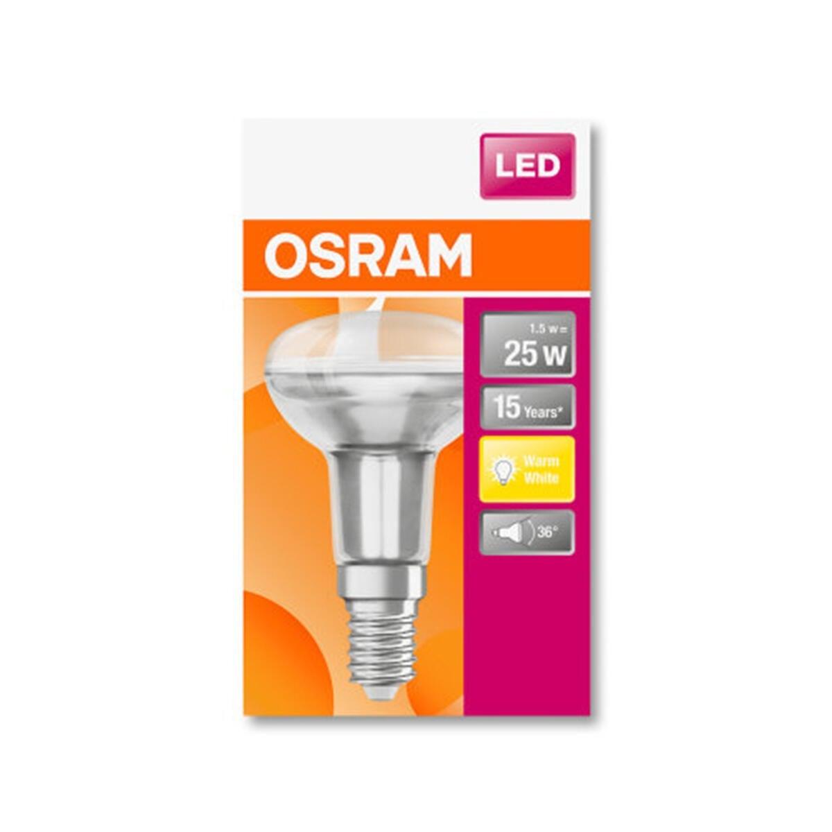 Lampadina LED, E14, Faretto, Trasparente, Luce calda, 1.5W=110LM (equiv 25 W), 36° , OSRAM - 7