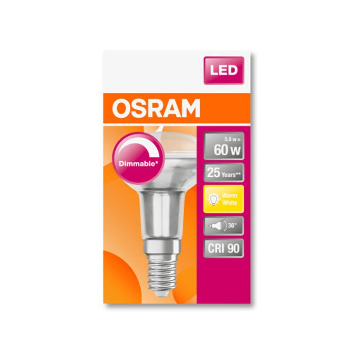 Lampadina LED, E14, Faretto, Trasparente, Luce calda, 5.9W=345LM (equiv 60 W), 36° , OSRAM - 8